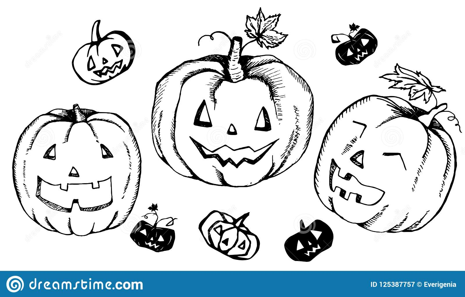 Set Of Halloween Hand Drawn Pumpkin Heads Elements Collection Of