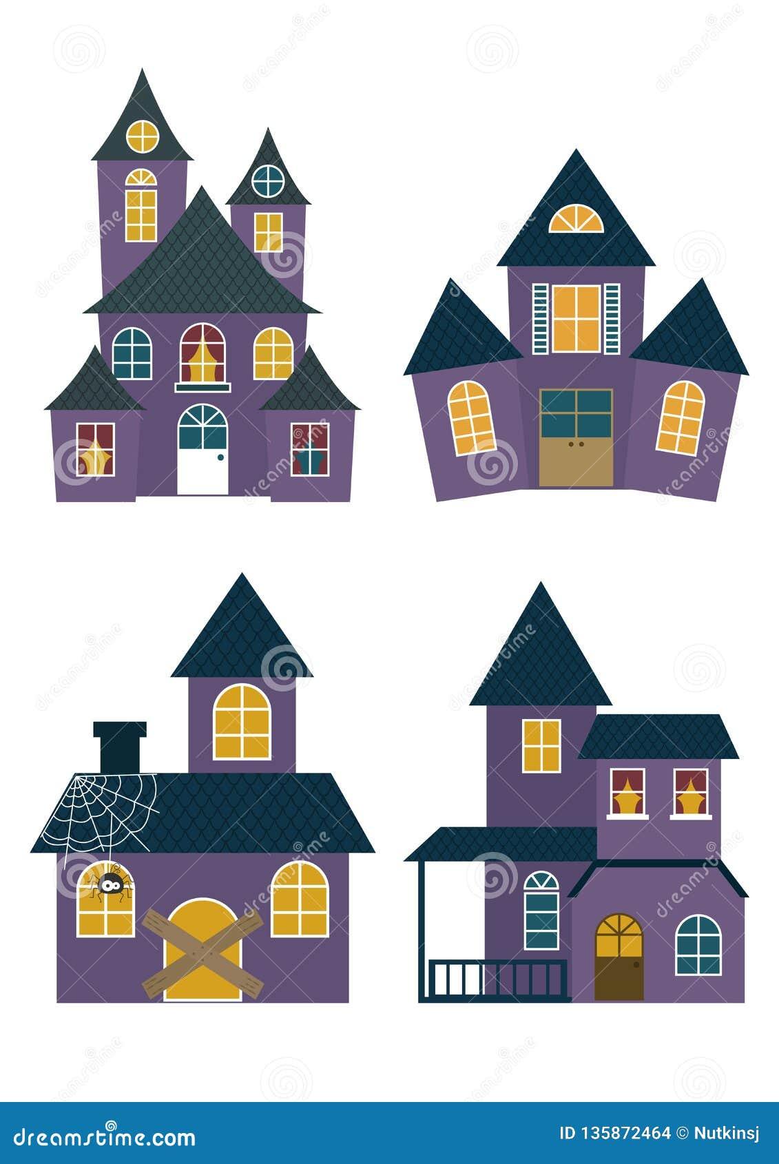 Set of Halloween Houses