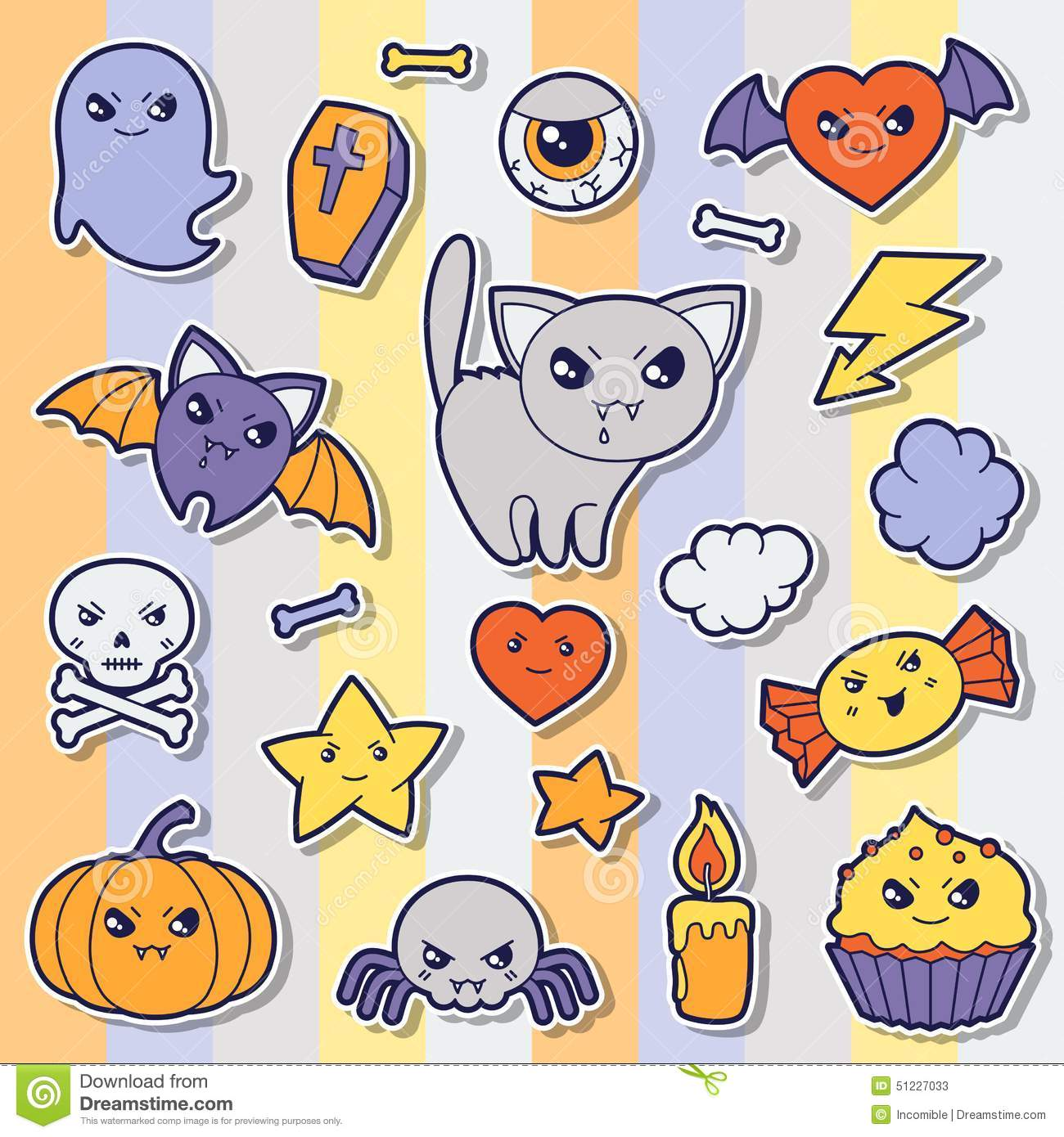 Set of halloween kawaii cute sticker doodles and stock vector set of halloween kawaii cute sticker doodles and biocorpaavc Choice Image