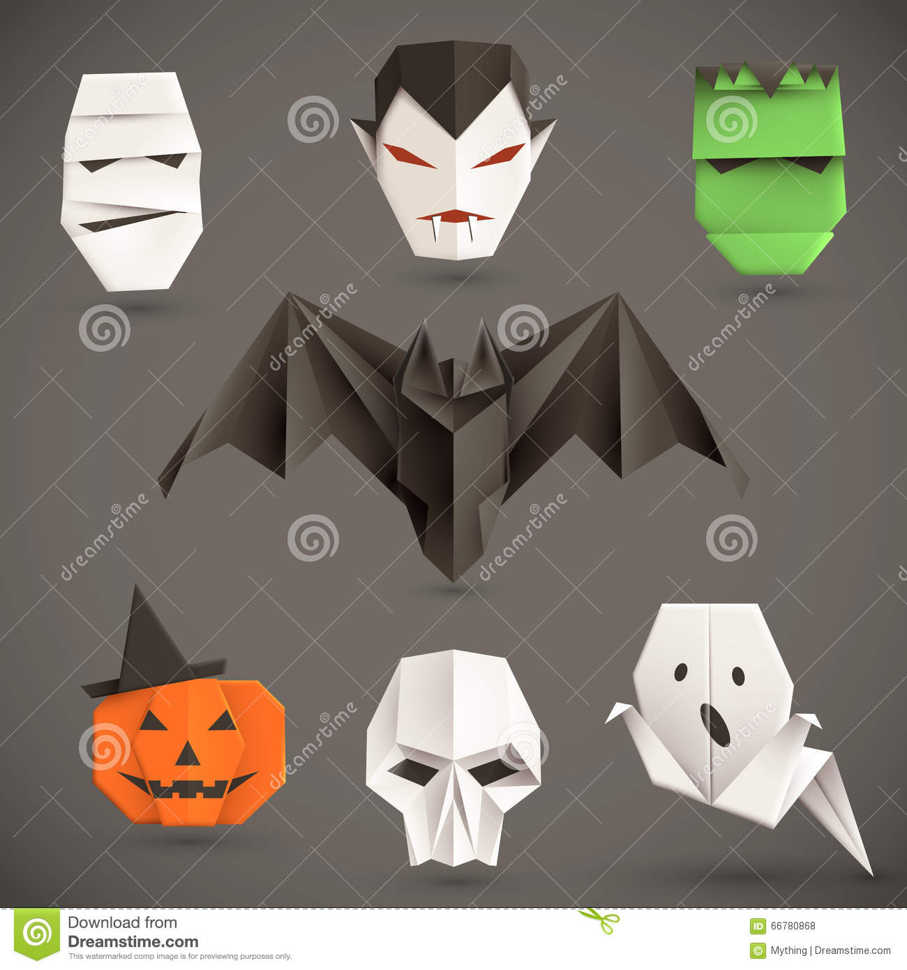 Set of halloween origami monsters vector illustration eps10 set of halloween origami monsters vector illustration eps10 jeuxipadfo Gallery