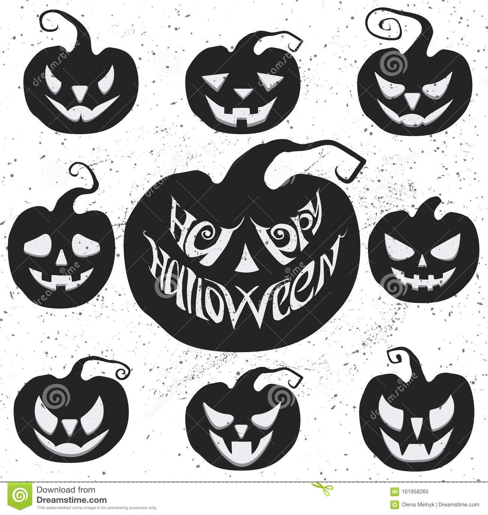 download set for halloween with pumpkin carving happy halloween vector lettering stock vector