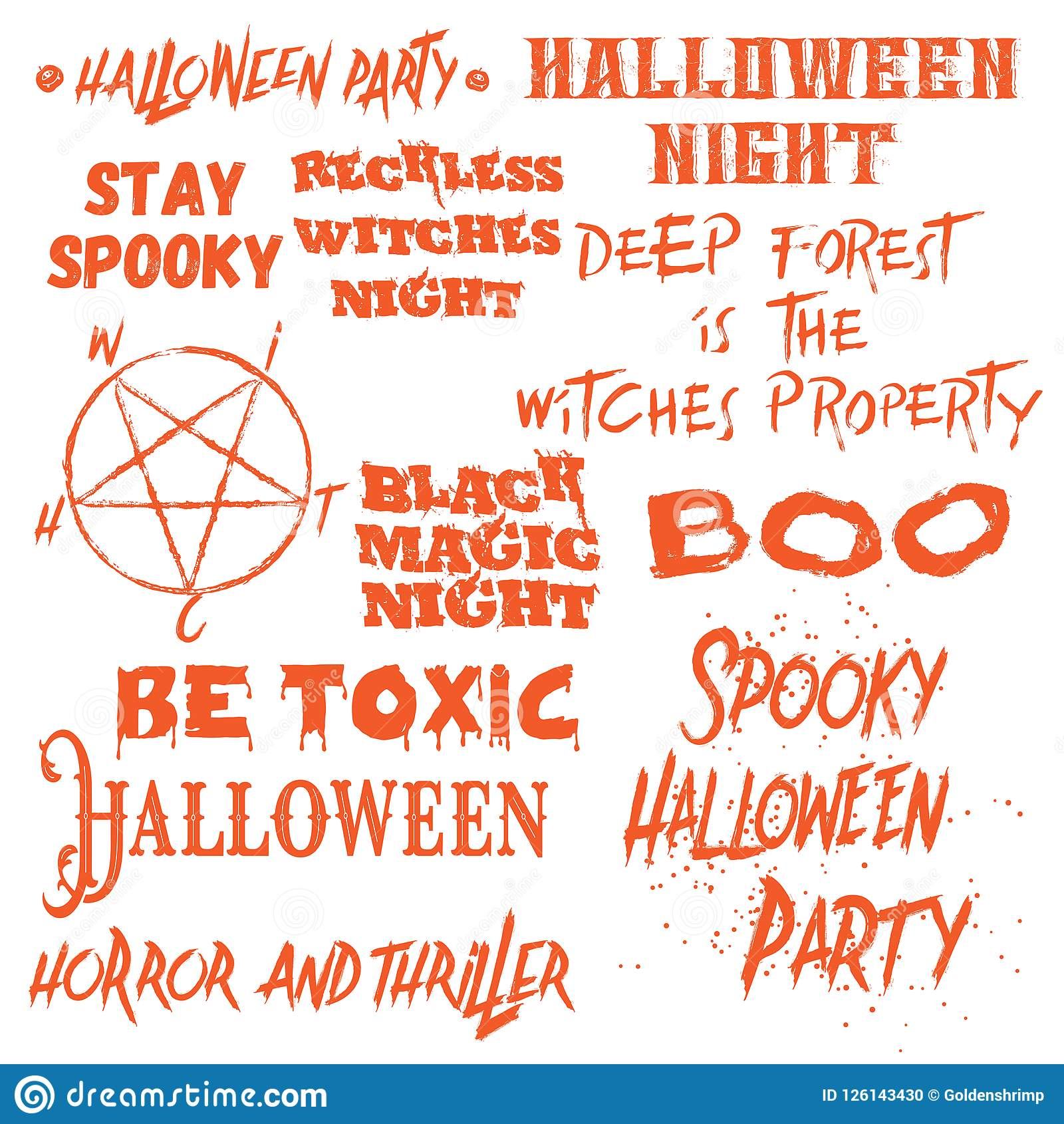 set of halloween quotes for posters about halloween party and sc