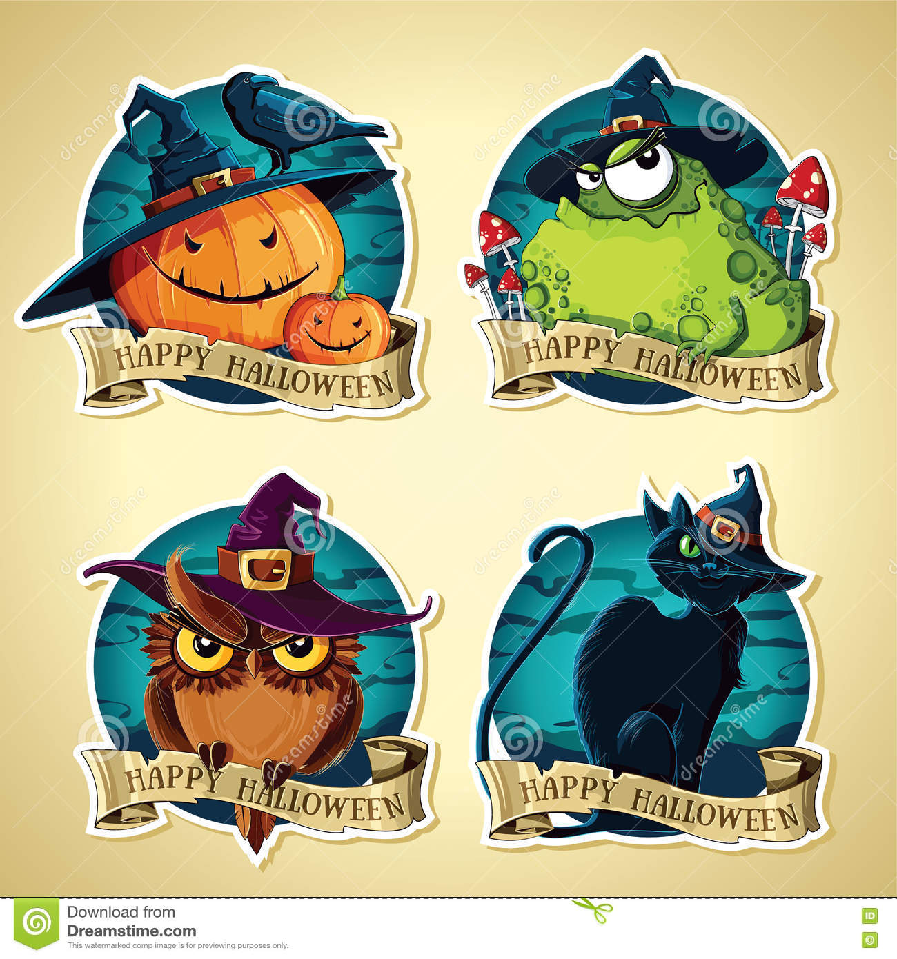 Set Of Halloween Vintage Vector Labels With Pumpkins, Toad, Owl ...