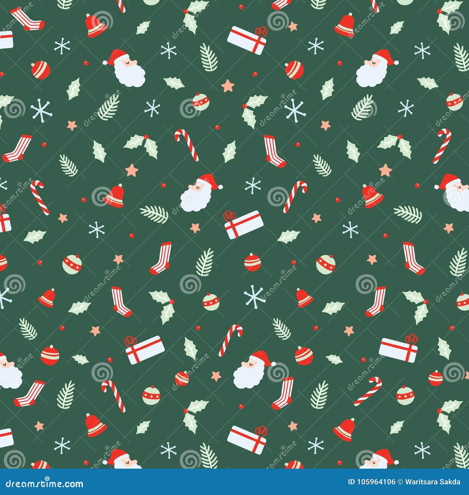 Set Halloweenowy bezszwowy wzór z Święty Mikołaj, Dzwony, xmas piłka, cukierek trzciny, prezent, skarpety, Bożenarodzeniowy liść,