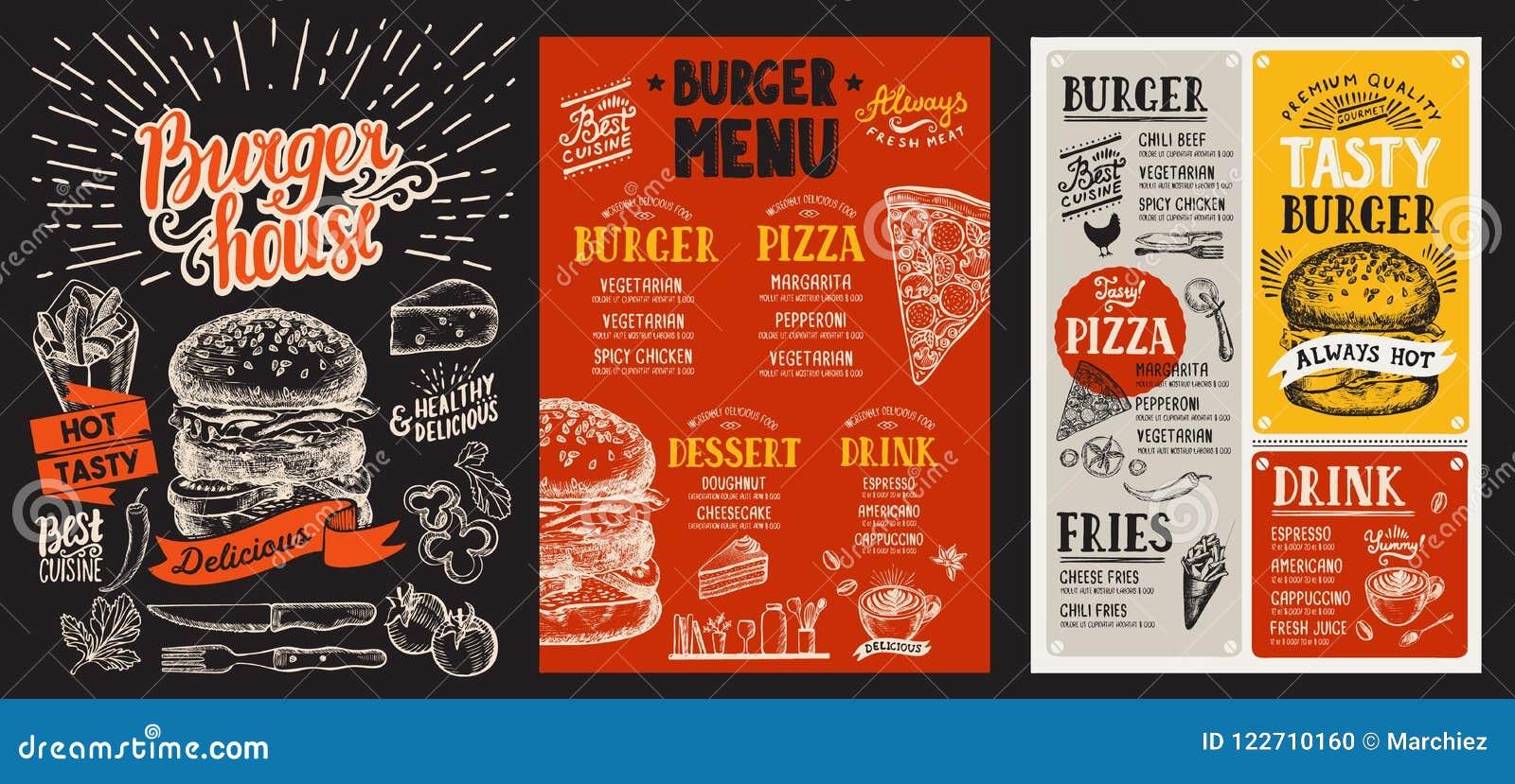 Set hamburgerów menu dla restauraci Wektorowa karmowa ulotka dla baru
