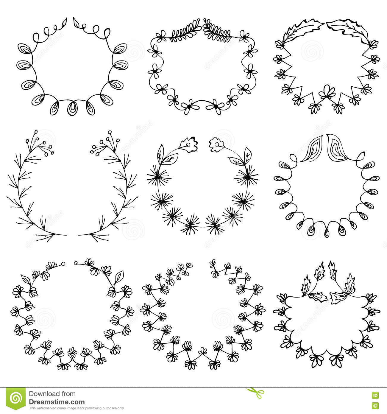 Set Of 9 Hand Draw Vector Victory Laurel Wreaths For Stationary Stock Vector Illustration Of Decor Doodle 71714440