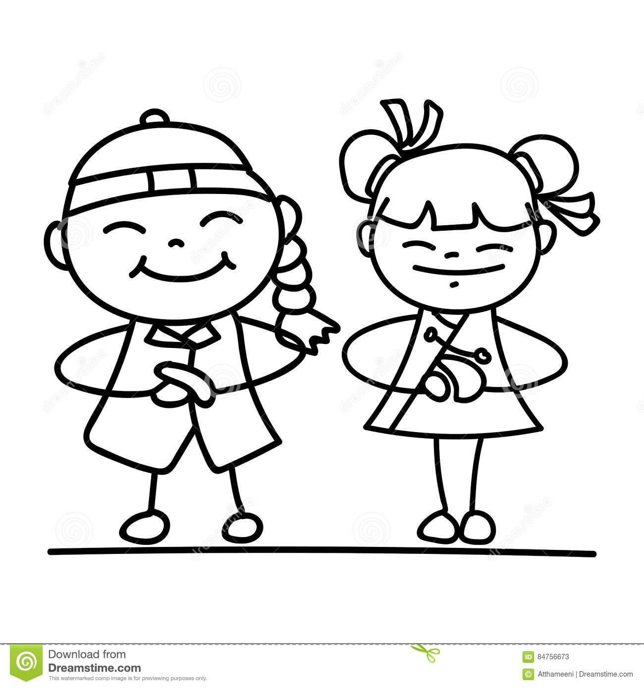 Line Drawing Year : Set of hand drawing cartoon character people happy chinese