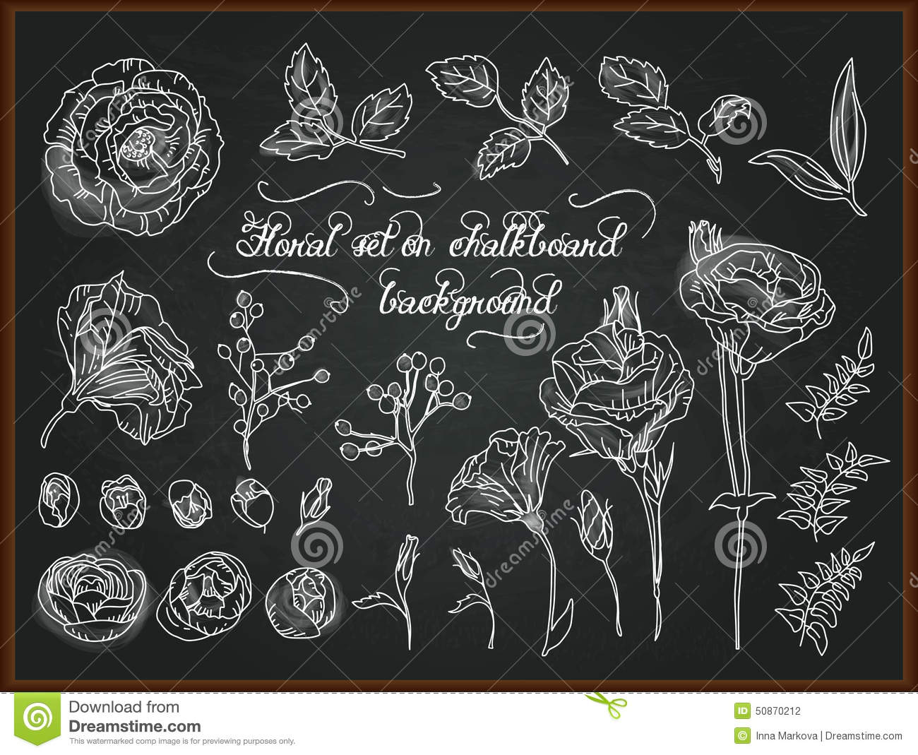 Set Of Hand Drawing Chalk Flowers For Design. Stock Vector ...