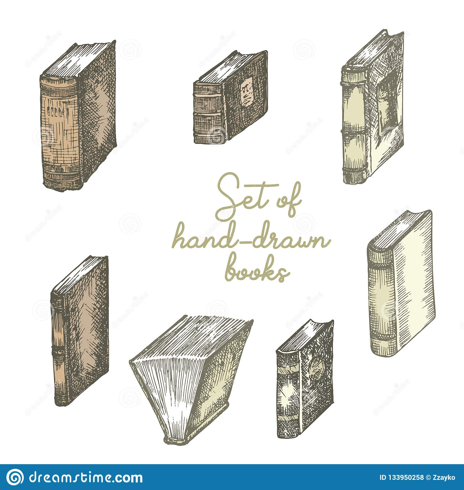 Set of hand drawing sketch books for concept vintage design fair or festival flyer, paper, banner, school library retro