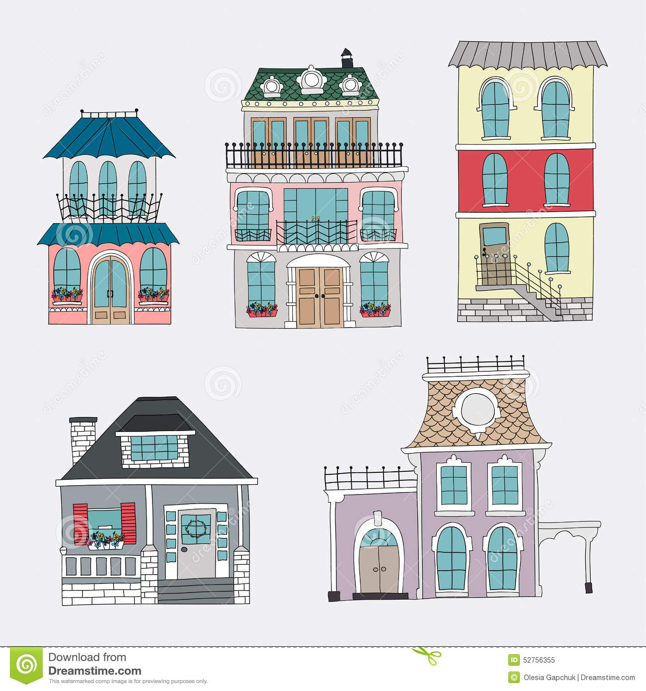 Set Of Hand Drawing Vintage Houses. Stock Vector