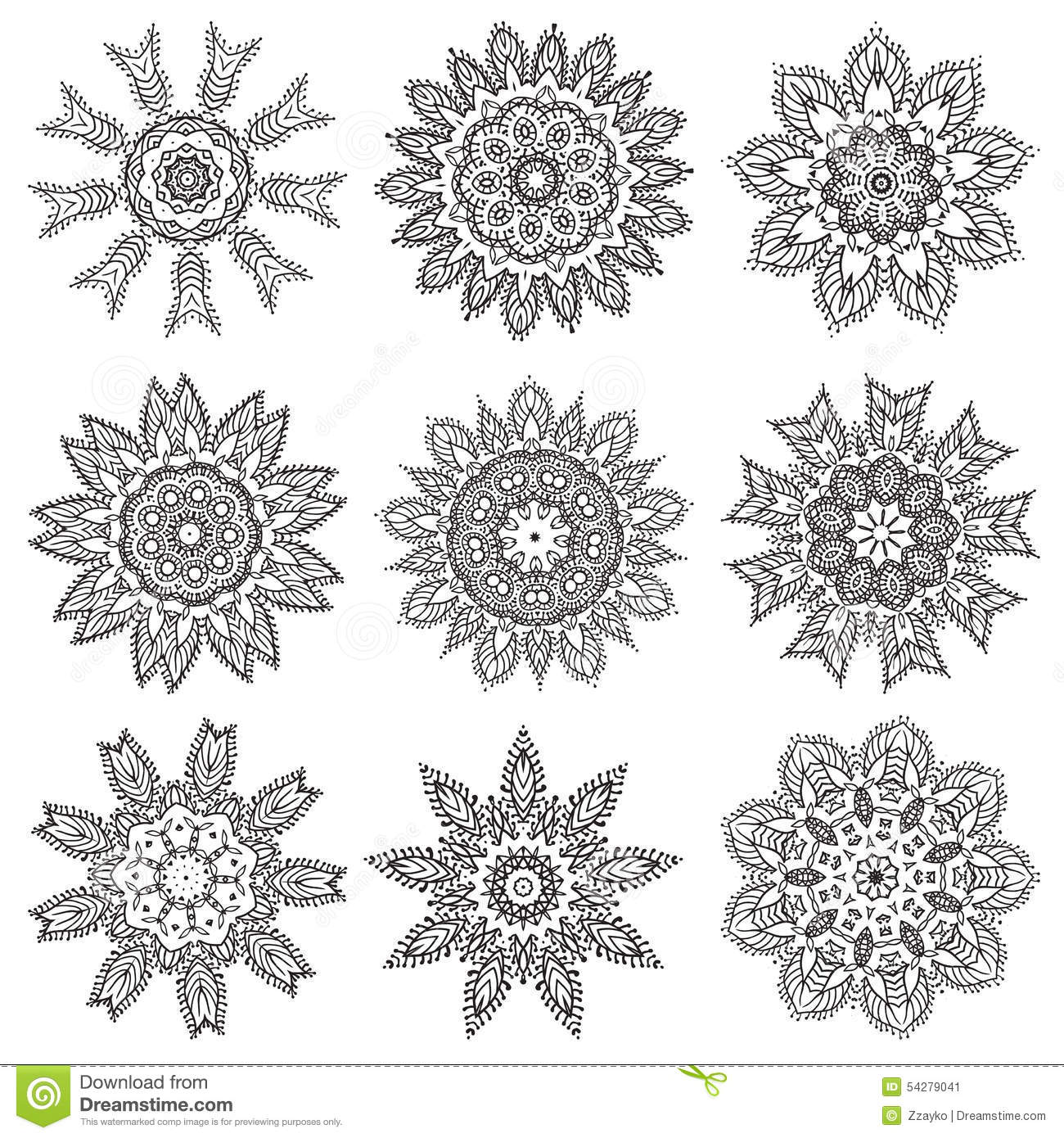 Set Hand Drawing Zentangle Mandala Elements Download Image Step By Step How  To Draw Flowers