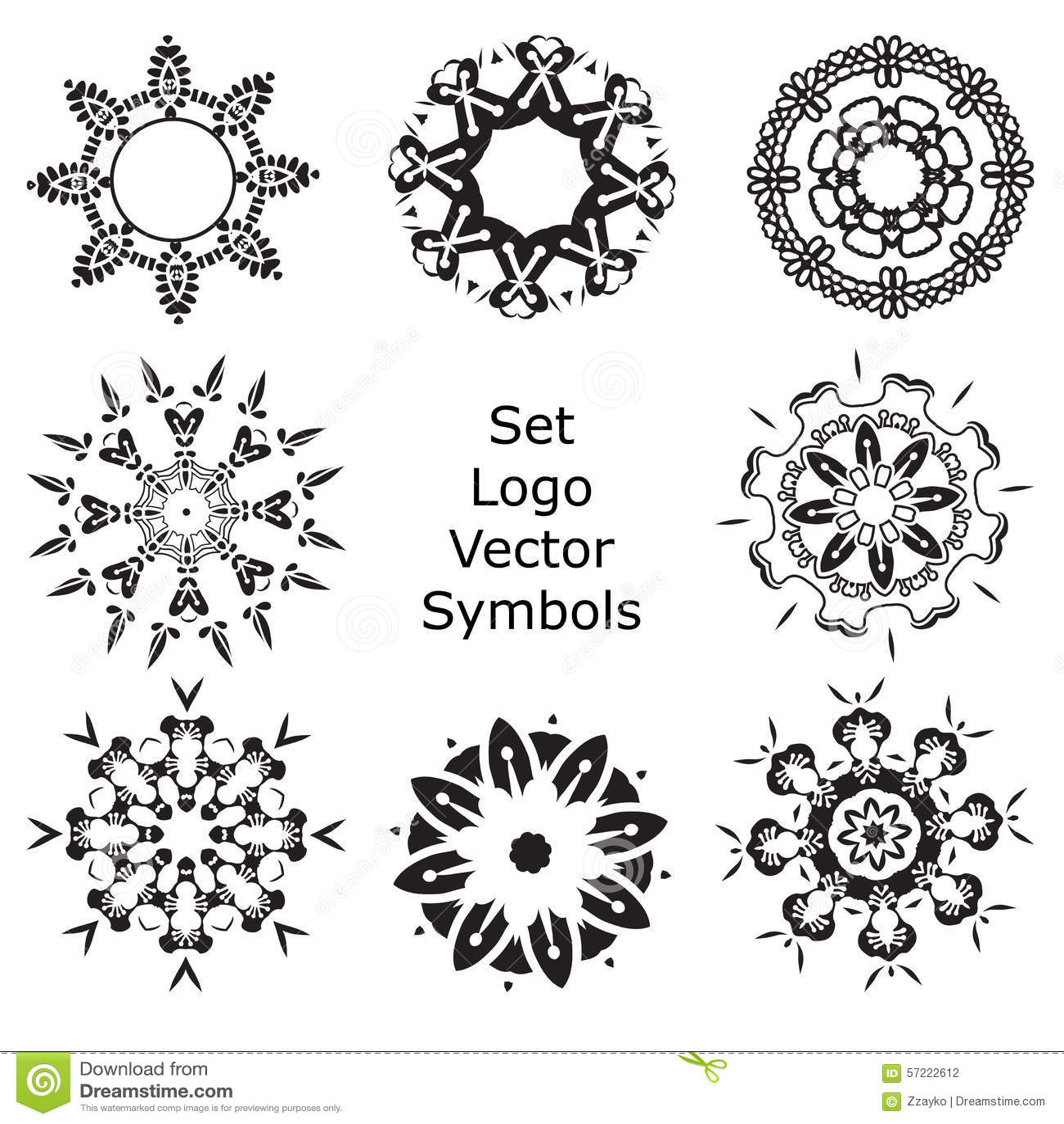 set hand drawing zentangle mandala logo symbols stock. Black Bedroom Furniture Sets. Home Design Ideas