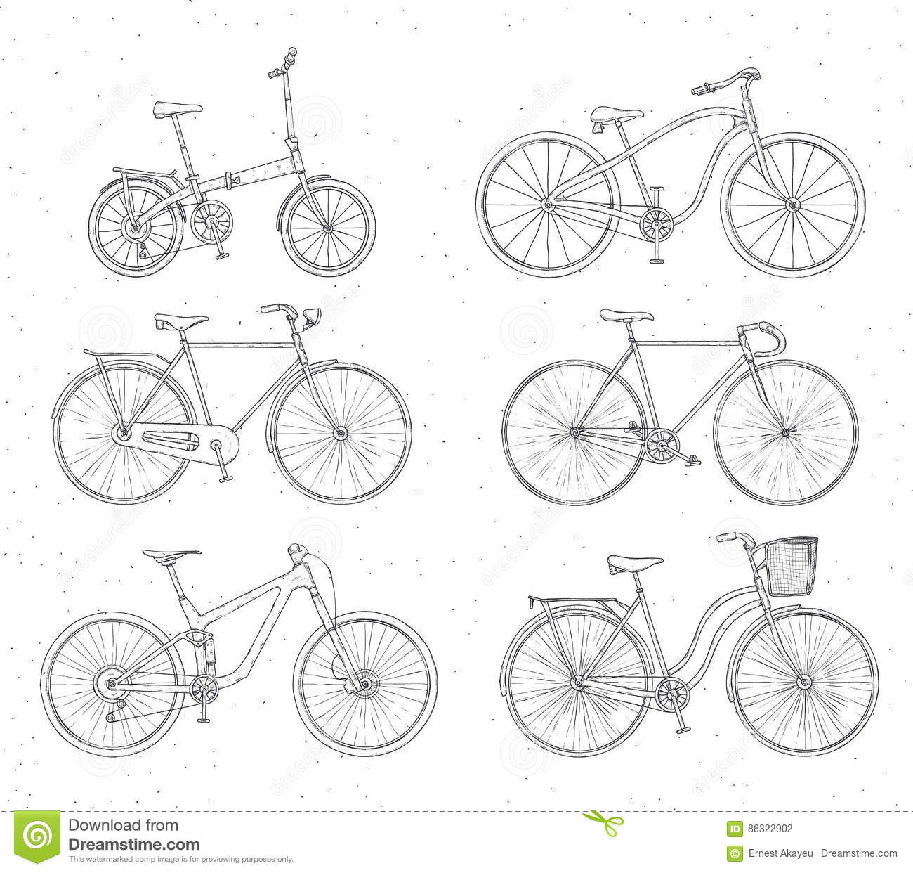 Set Of Hand Drawn Bicycles Modern And Retro Style On White