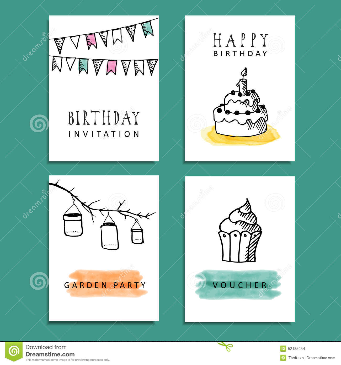 Set Of Hand Drawn Birthday Party Cards, Invitations Stock Vector ...