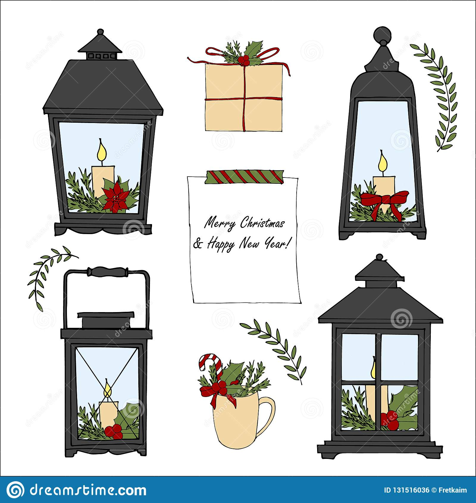 set of hand drawn cartoon merry christmas and happy new year elements vector doodle lantern