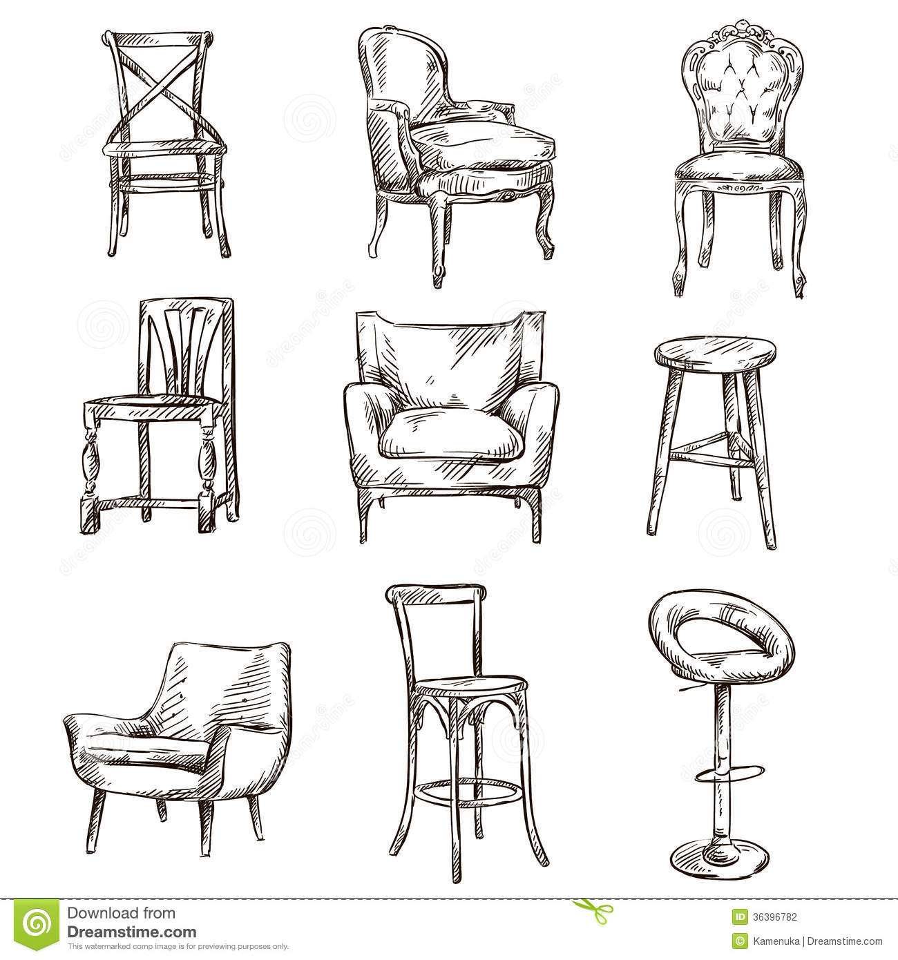 Set of hand drawn chairs stock vector Image of line  : set hand drawn chairs interior detail 36396782 from www.dreamstime.com size 1300 x 1390 jpeg 192kB