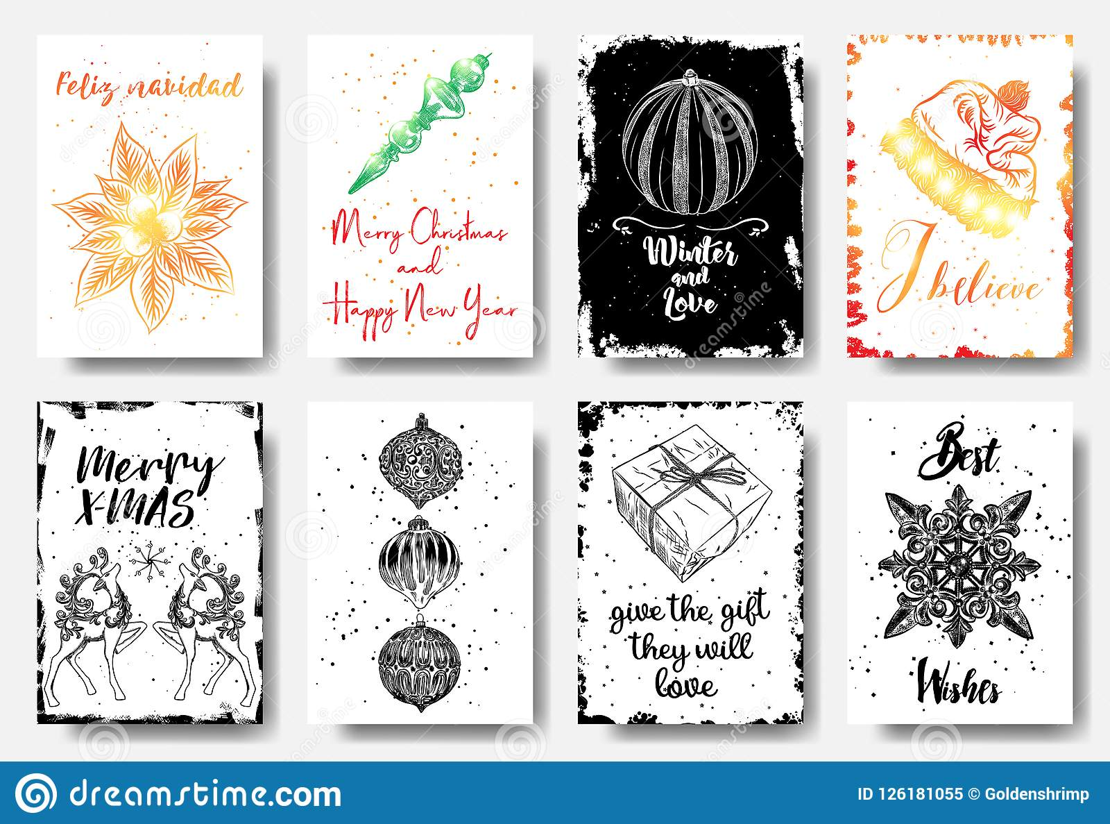Set of hand drawn christmas greeting cards great print for invi download set of hand drawn christmas greeting cards great print for invi stock vector m4hsunfo