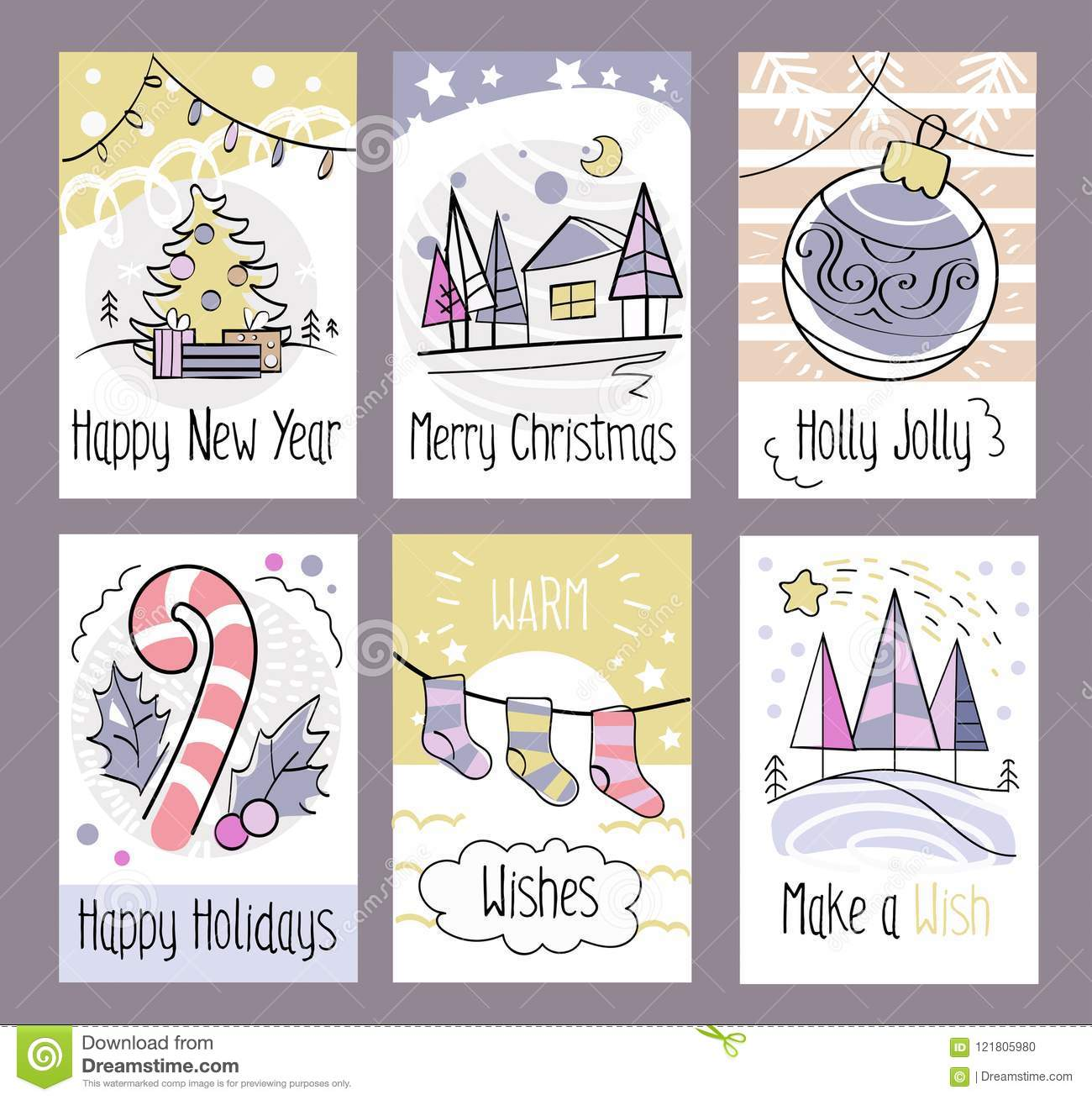Set Of Hand Drawn Christmas Greeting Cards. Happy New Year. Merr ...