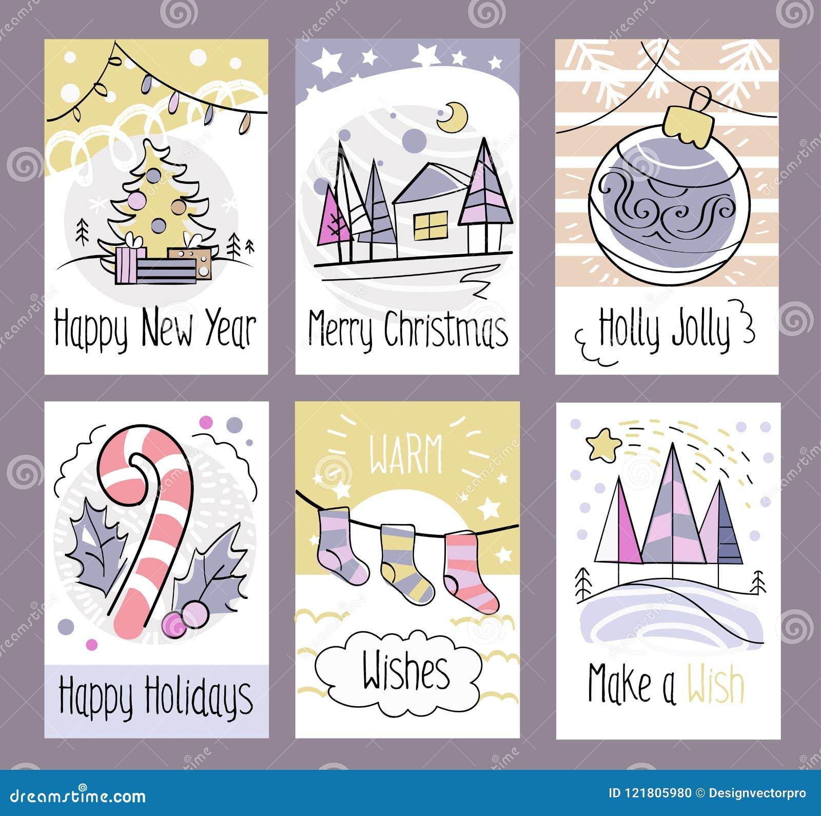 Set of hand drawn christmas greeting cards happy new year merr set of hand drawn christmas greeting cards happy new year merr m4hsunfo