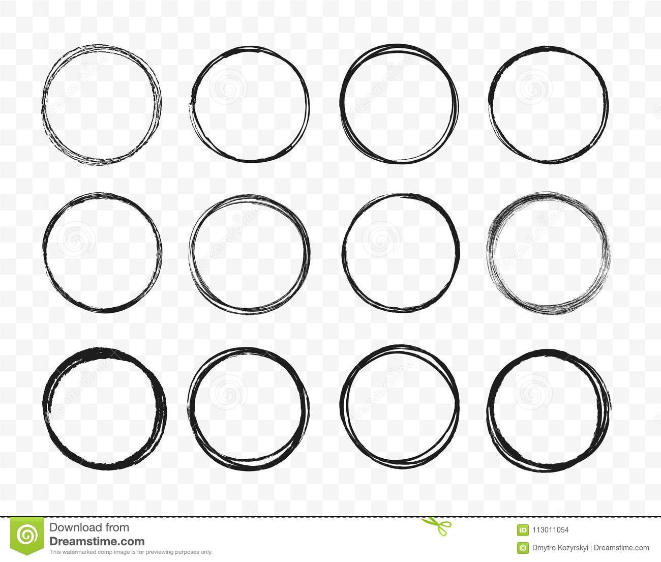 Set hand drawn circle line sketch set. Circular scribble doodle round circles for message note mark design element