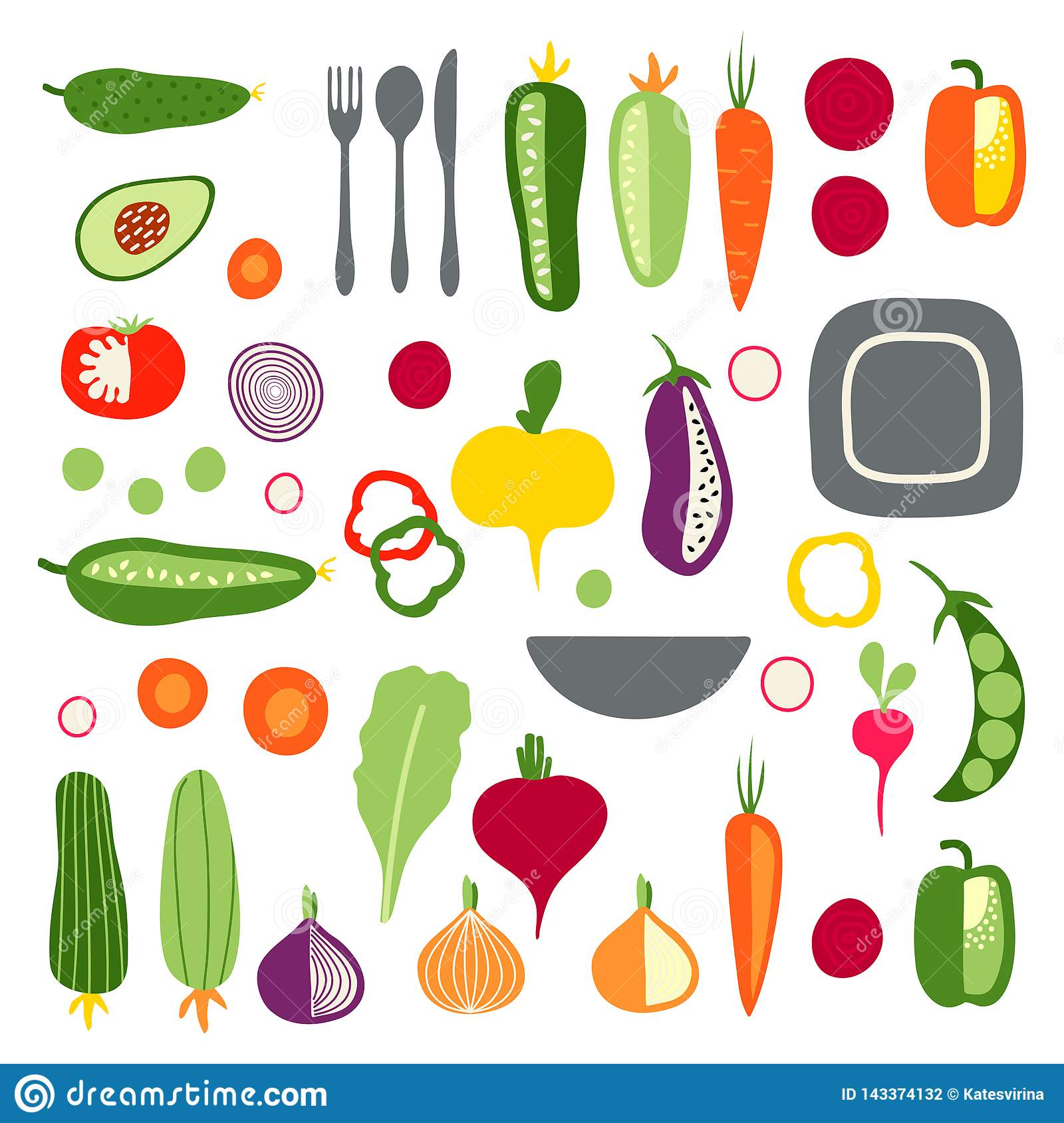 Set with hand drawn colorful flat vegetables and tableware