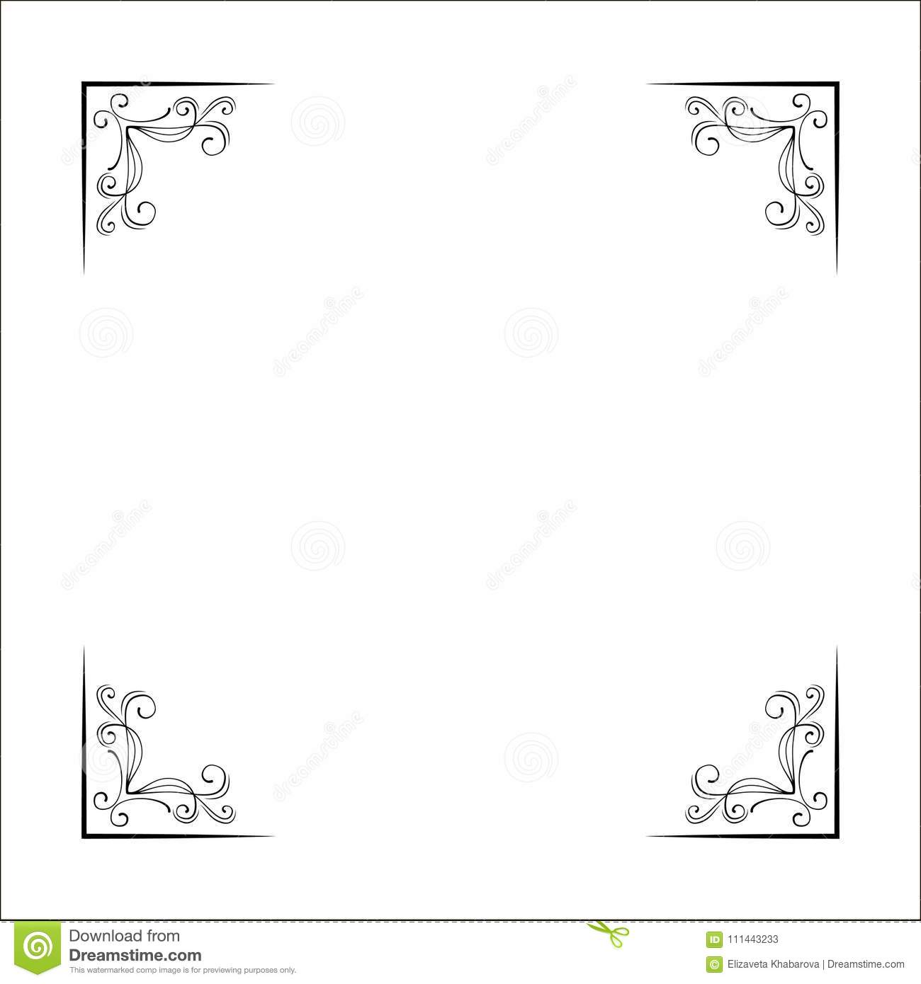 Set of hand drawn corner borders. Fancy page decoration. Vector.