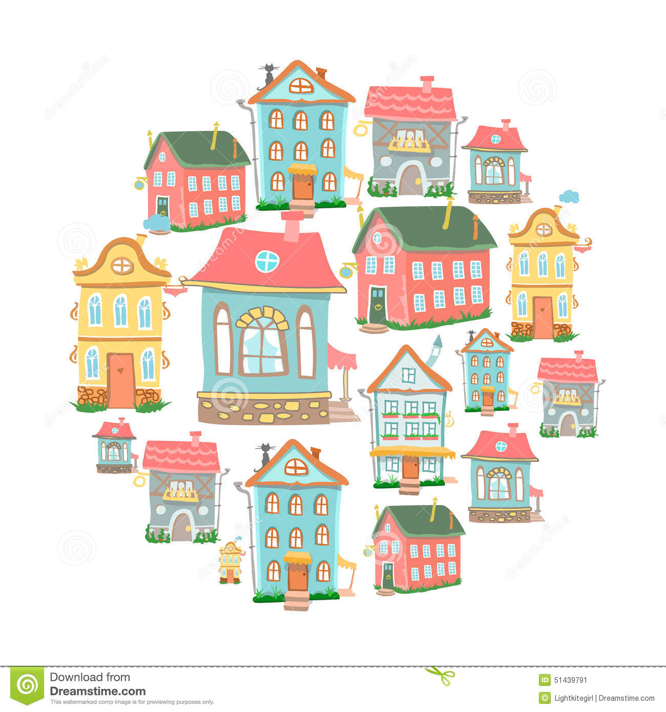 Stock image set of hand drawn cute cartoon houses image for Different building styles