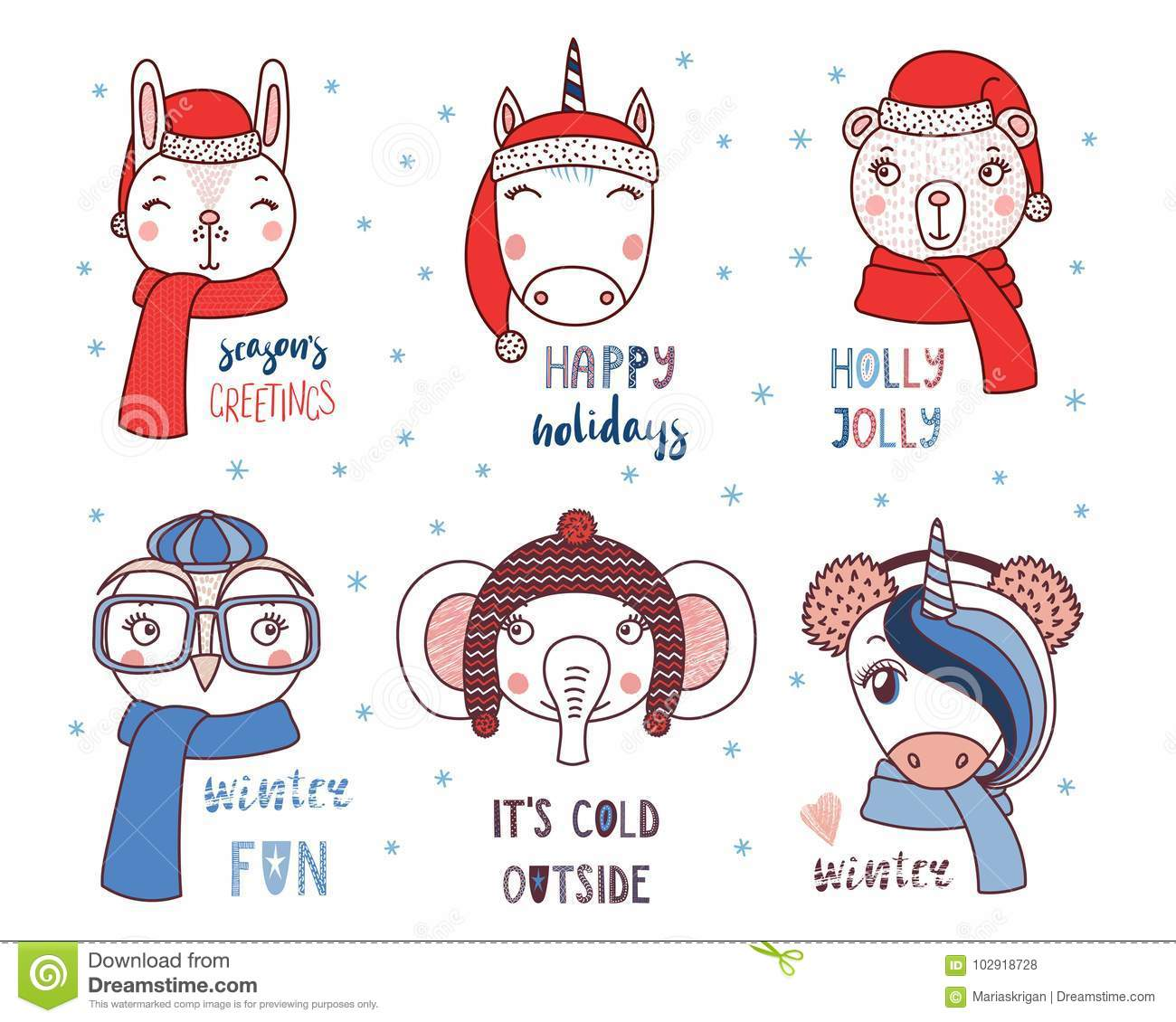 Cute Animals In Warm Hats With Quotes Stock Vector Illustration Of