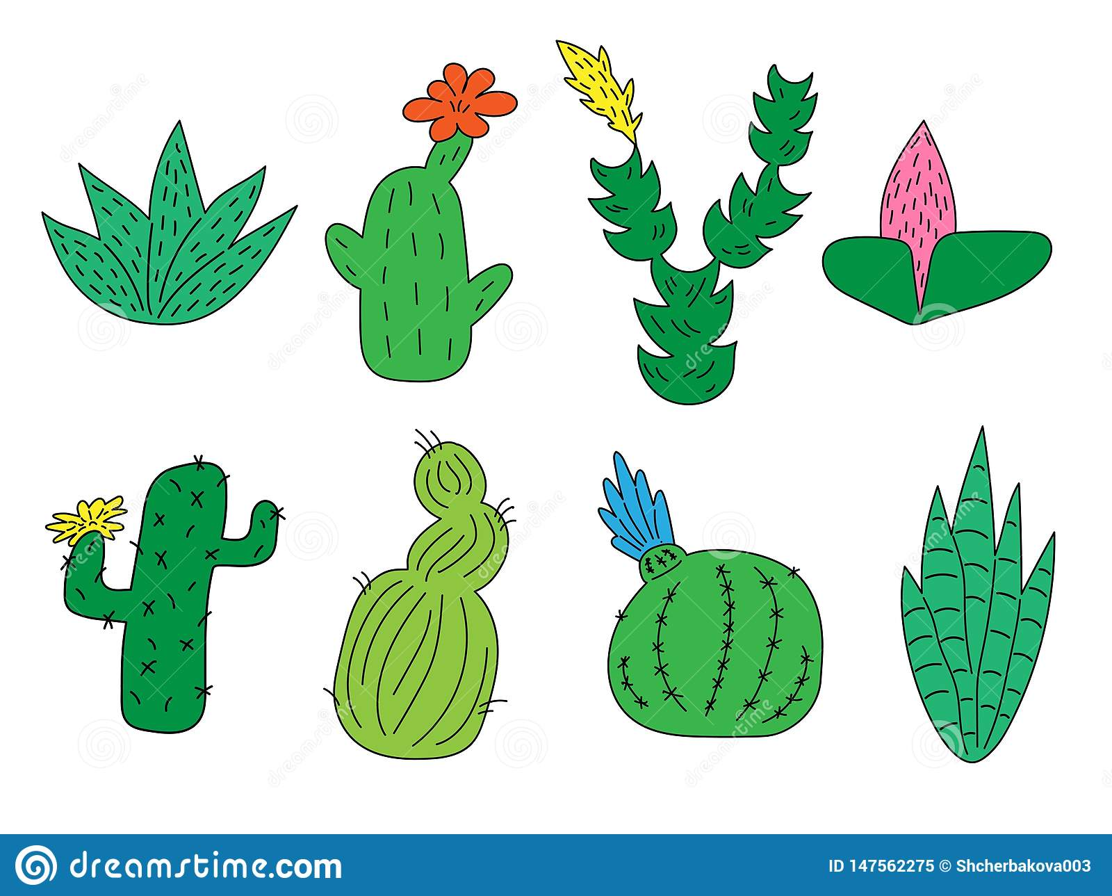 Set of hand drawn cute funny cacti and succulents. Isolated objects on white background. for icons, emoticons, stickers.