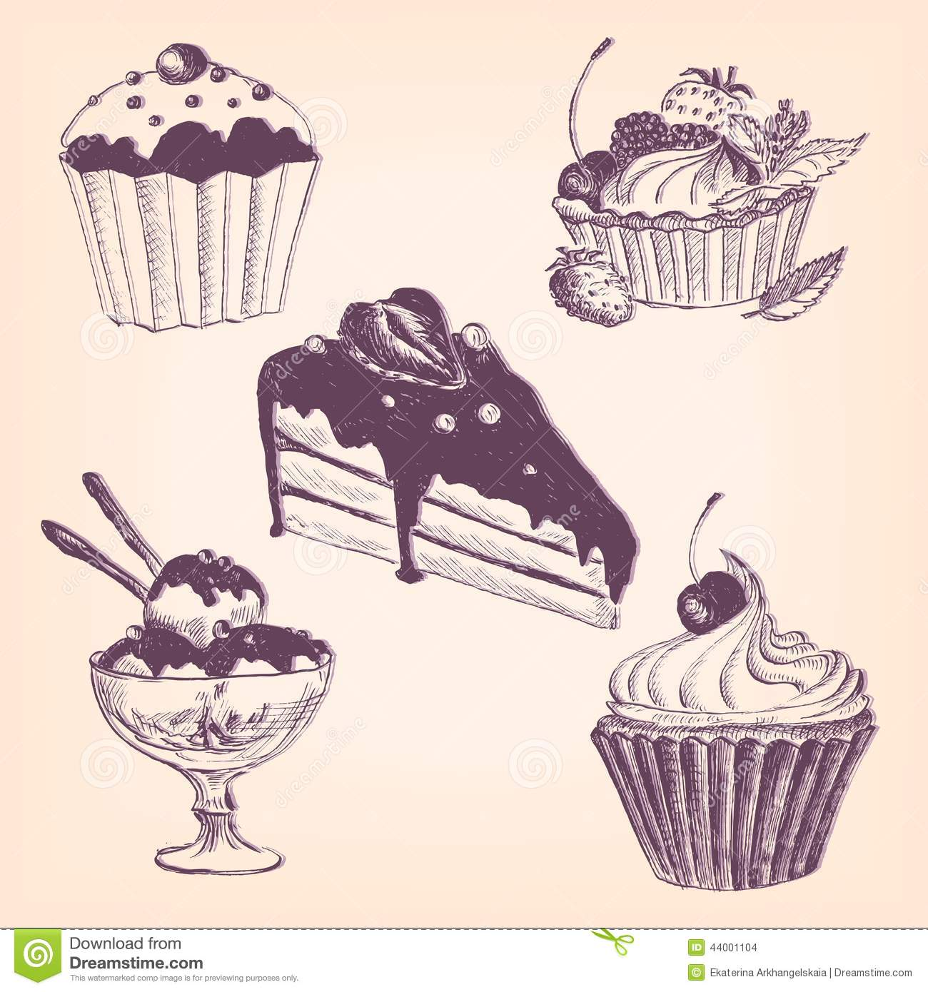 Set Of Hand Drawn Desserts Stock Illustration