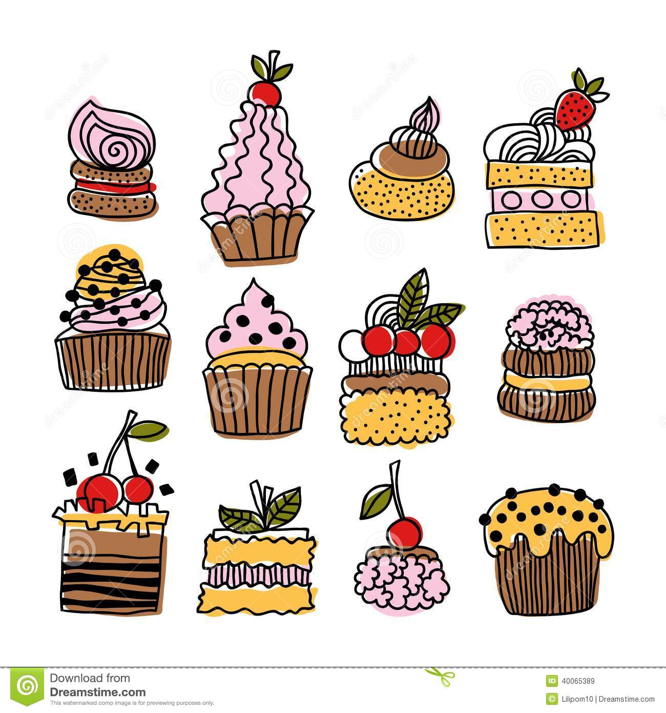 Set Of Hand Drawn Doodle Cakes Desserts Stock Vector
