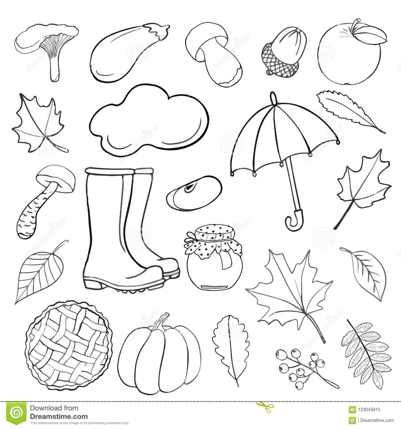 set of hand drawn doodle elements about autumn cozy fall collection