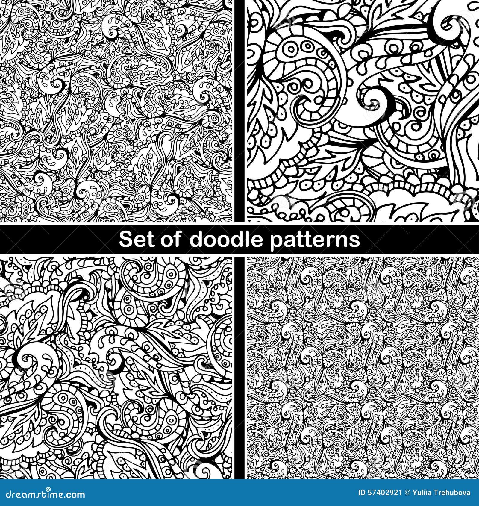 Set Of Hand Drawn Doodle Pattern In Vector Zentangle