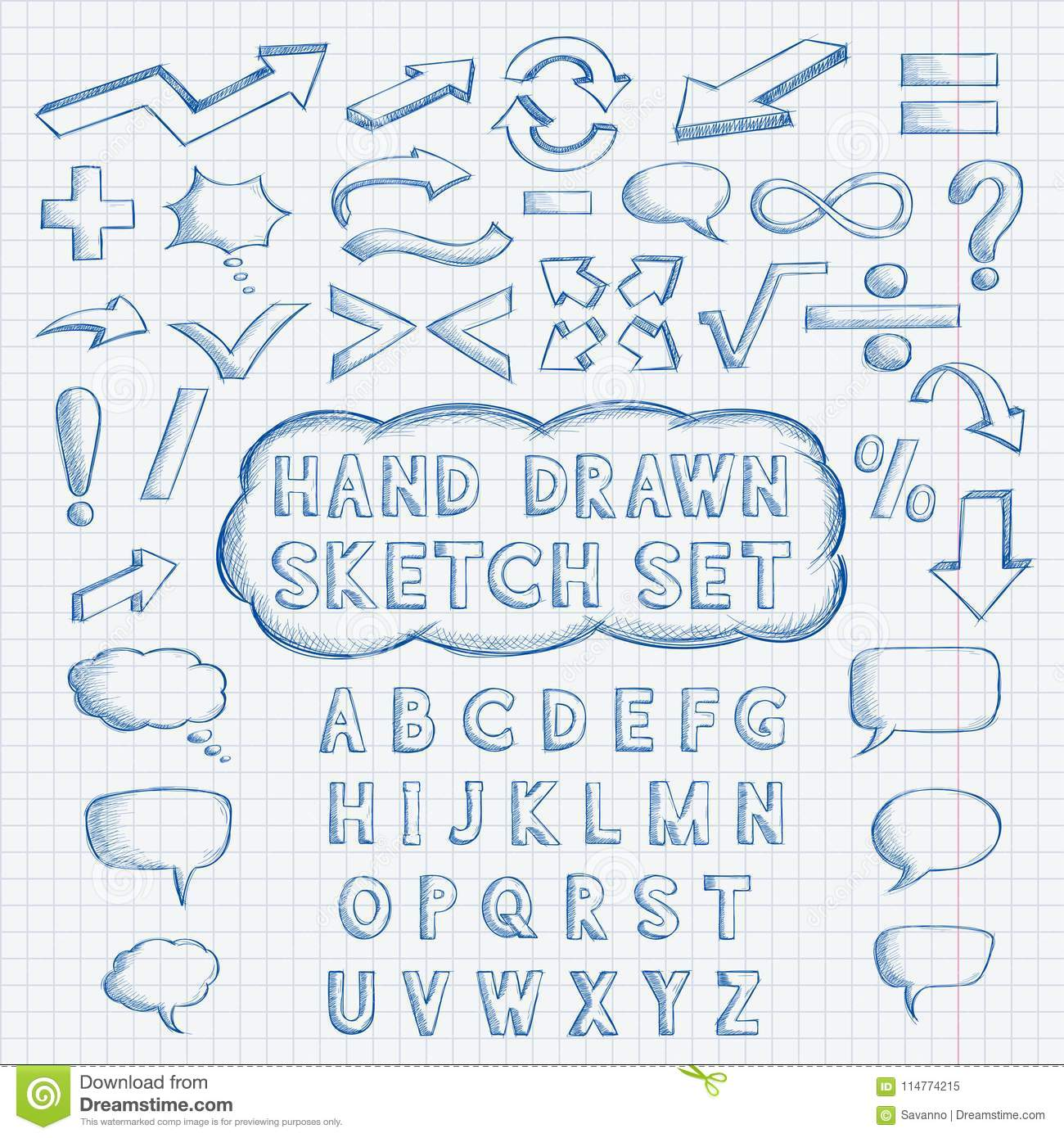 Set Of Hand Drawn Elements Font Mathematics And Punctuation