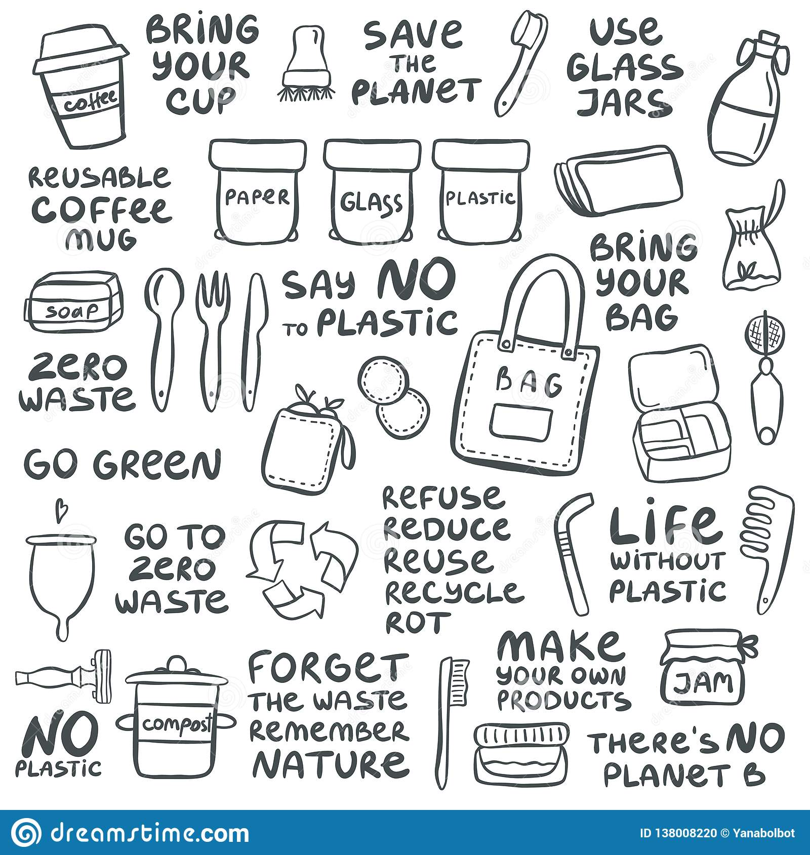 Set Of Hand Drawn Elements Of Zero Waste Life Stock Vector