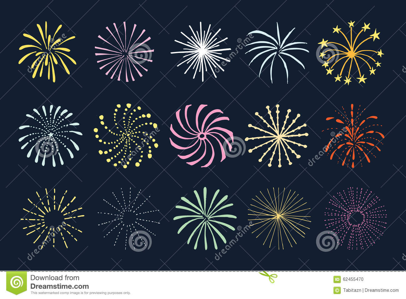 Set Of Hand Drawn Fireworks And Sunbursts S Stock Vector