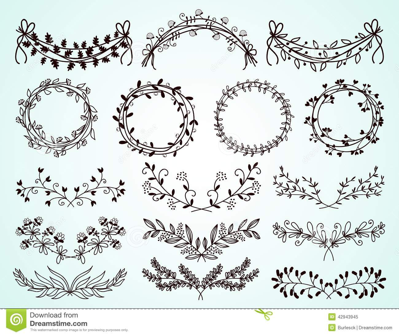 Set Of Hand Drawn Floral Borders And Wreaths Stock Vector