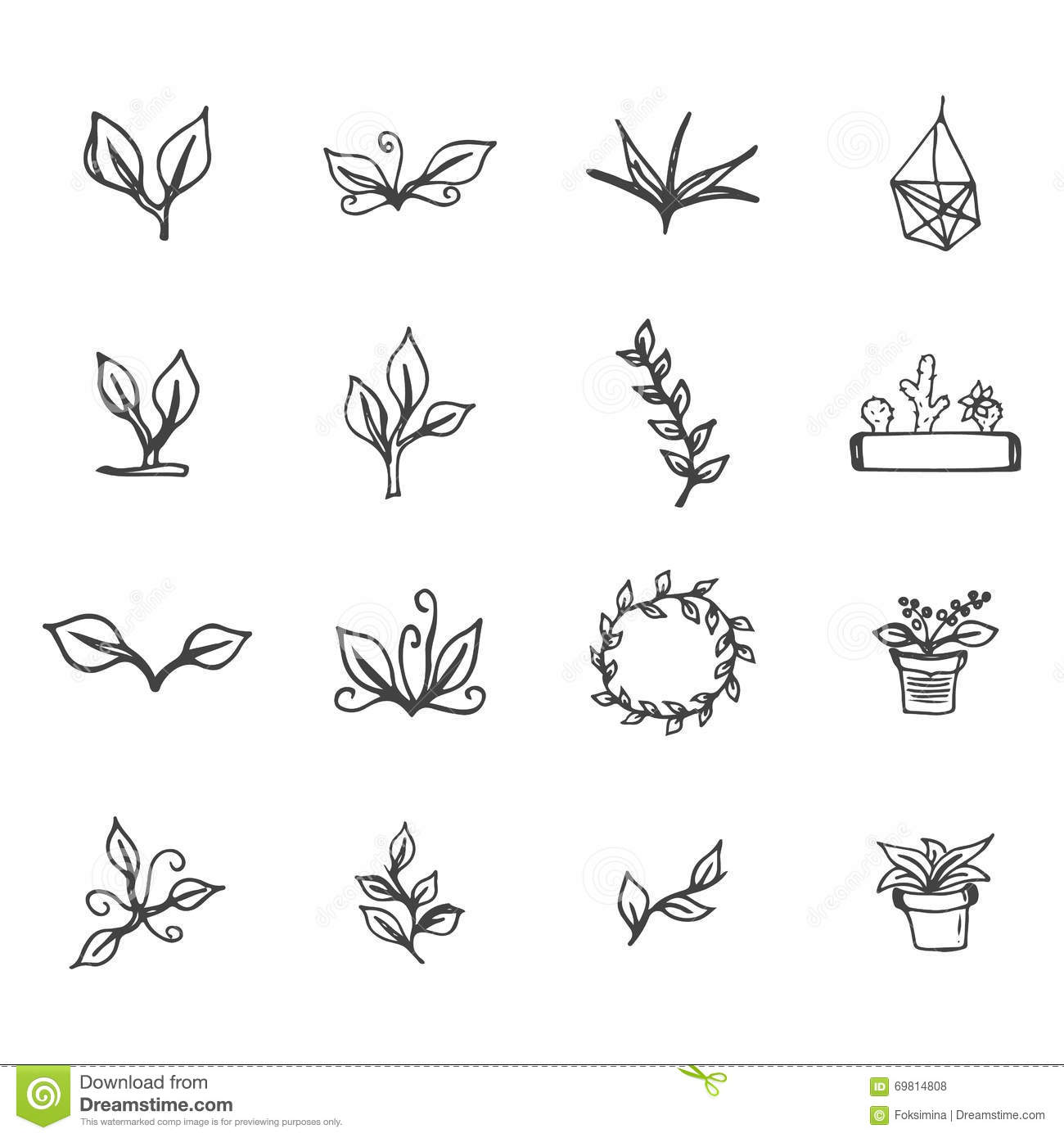 Black and white floral wreath stock vector image 65241515 - Black And White Floral Wreath Set Of Hand Drawn Flowers Leaves Cactus And Flower Pots Spring Ink Floral