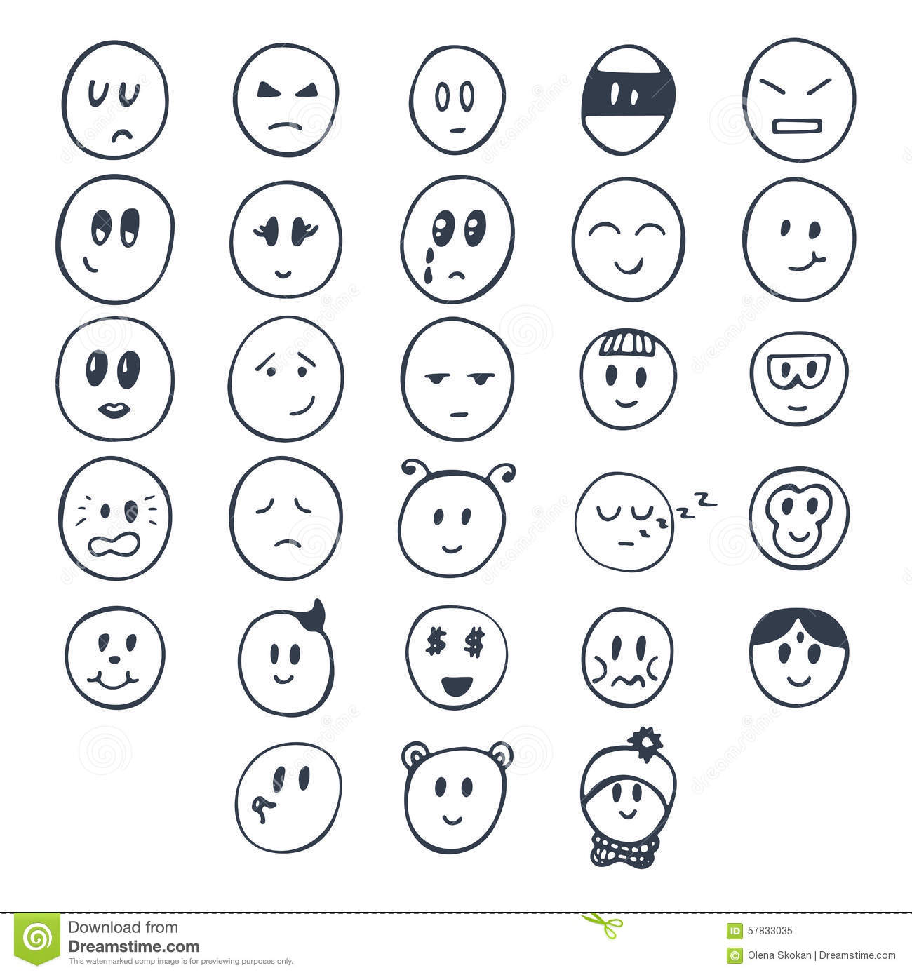 Line Drawing Smiley Face : Set of hand drawn funny faces with different expressions