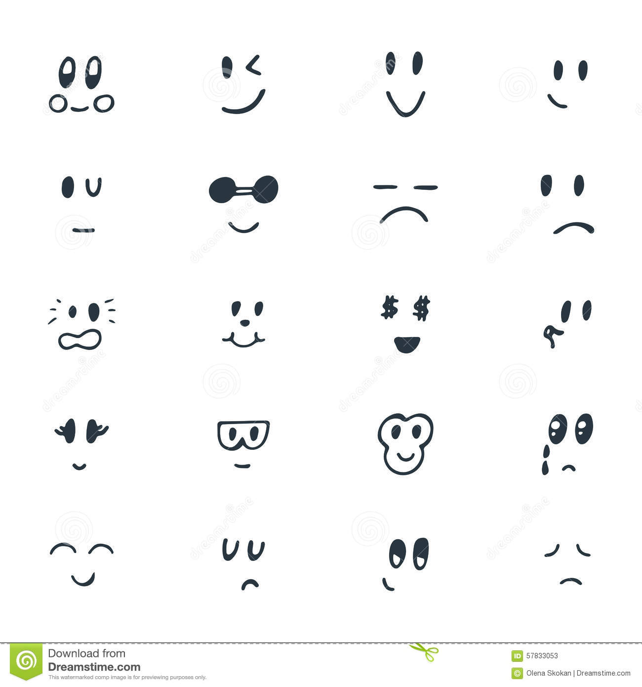 Line Drawing Smiley Face : Set of hand drawn funny smiley faces sketched facial