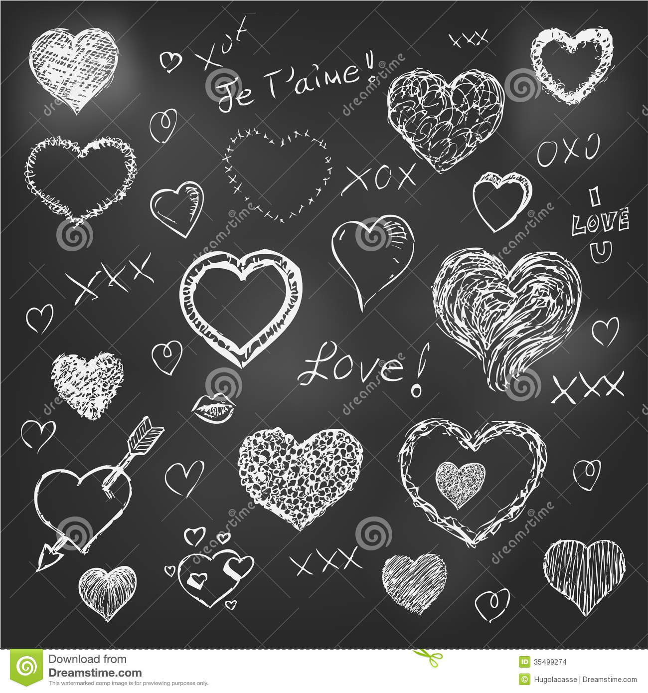 set of hand drawn hearts on chalkboard background stock vector