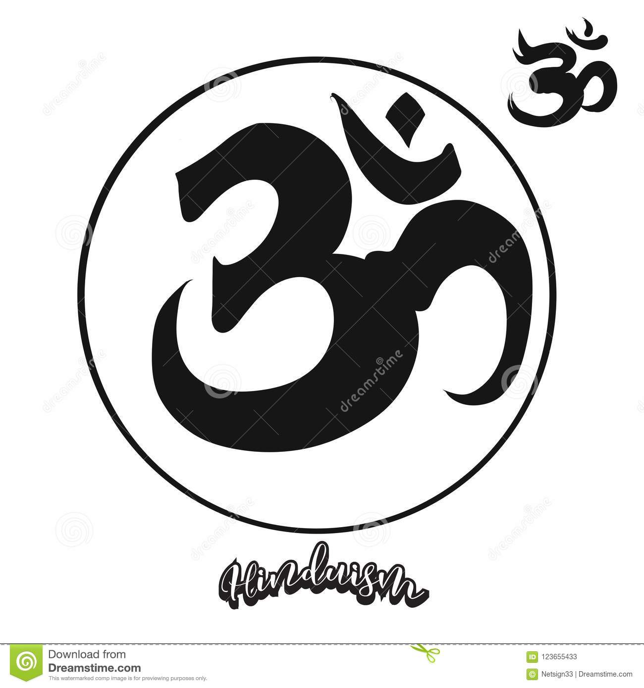 set of hand drawn hinduism symbols stock vector illustration of