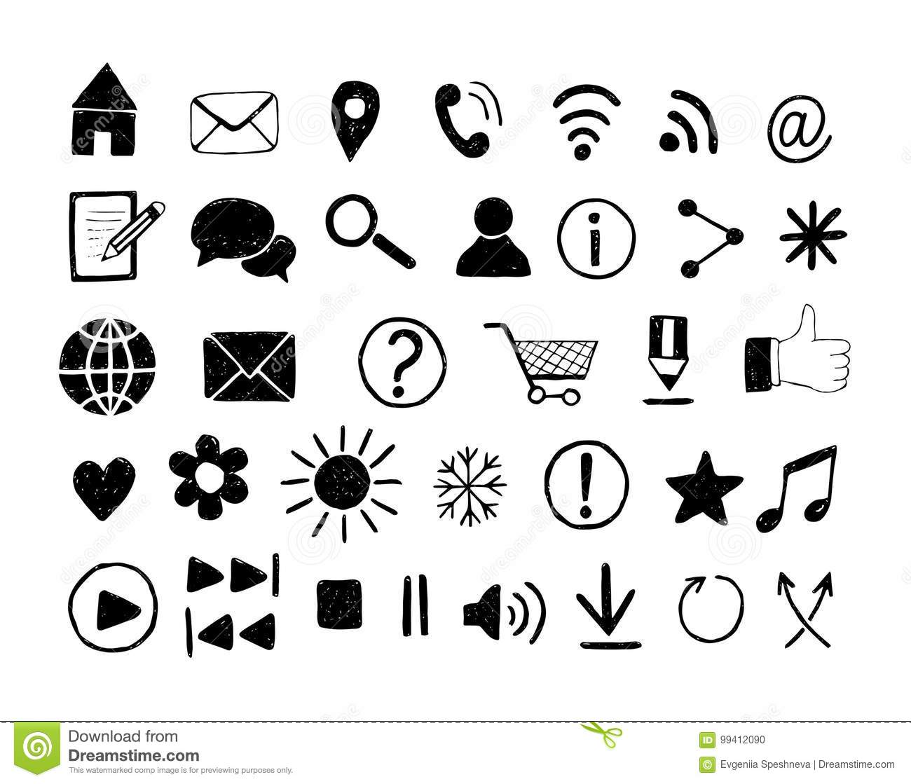 Hand Drawn Icons For Web Site And Print Templates Media