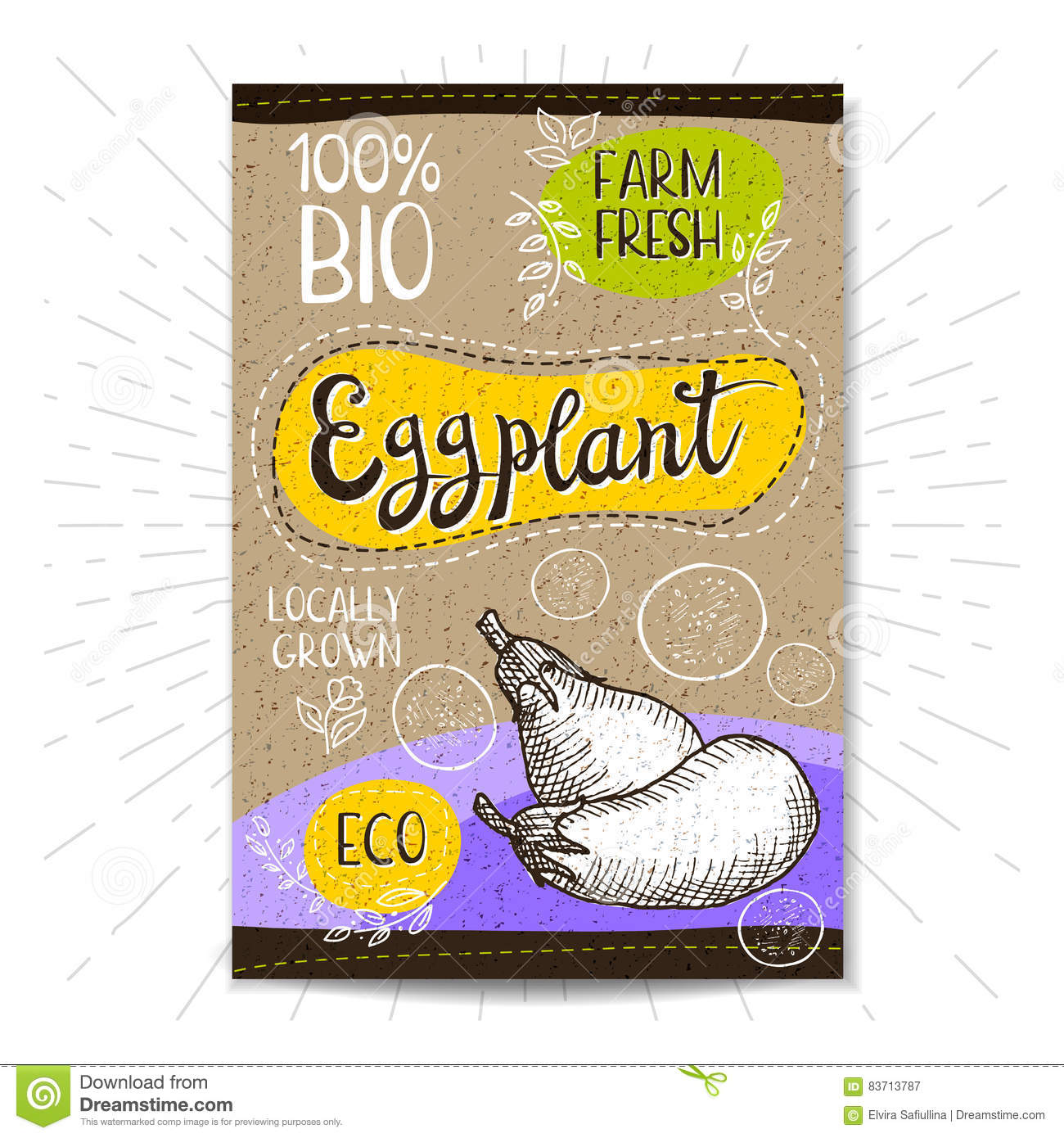 Set Of Hand Drawn Labels Food, Spices. Stock Vector