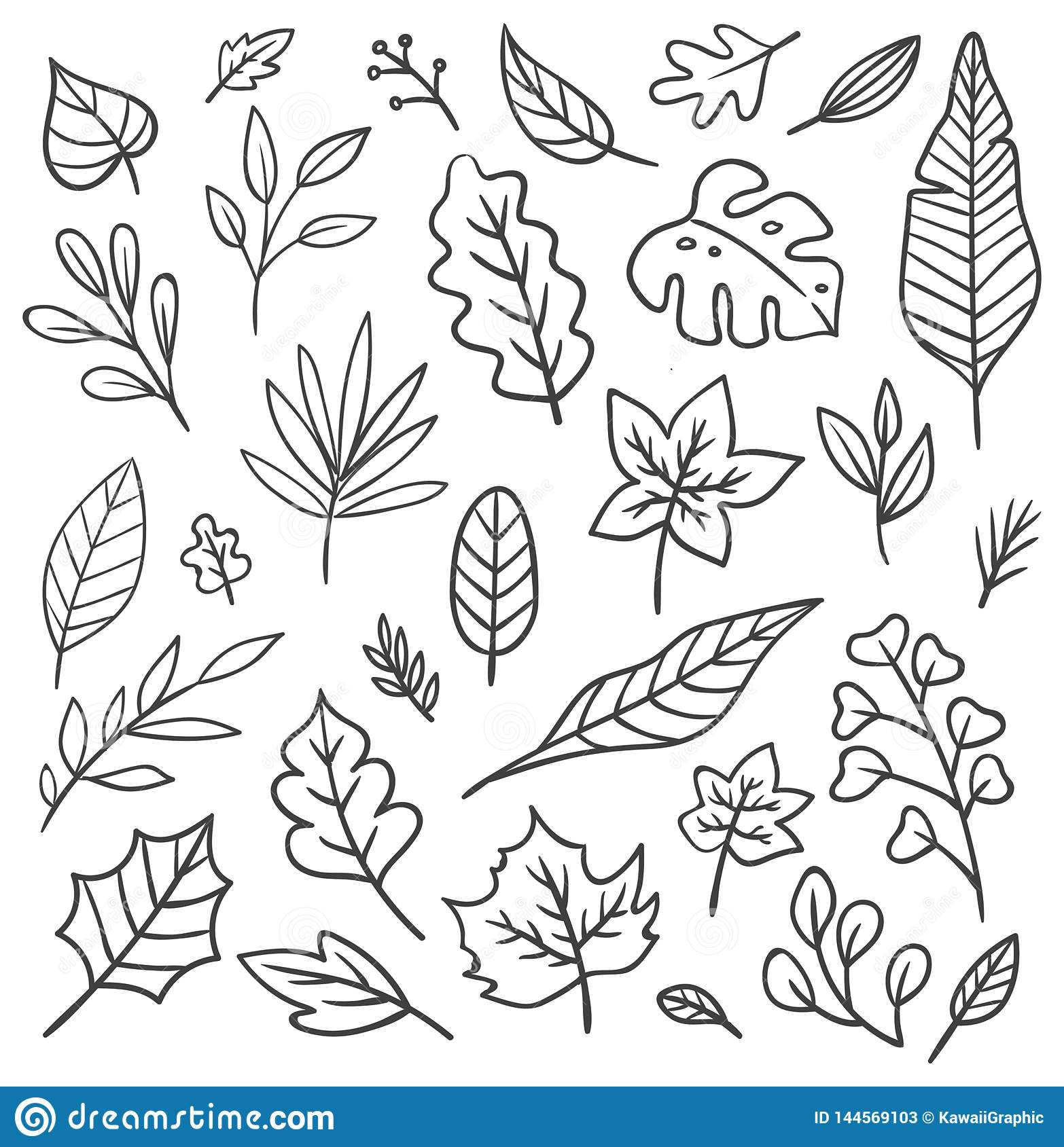 Set Of Leaves Doodle Stock Illustration Illustration Of Abstract 144569103