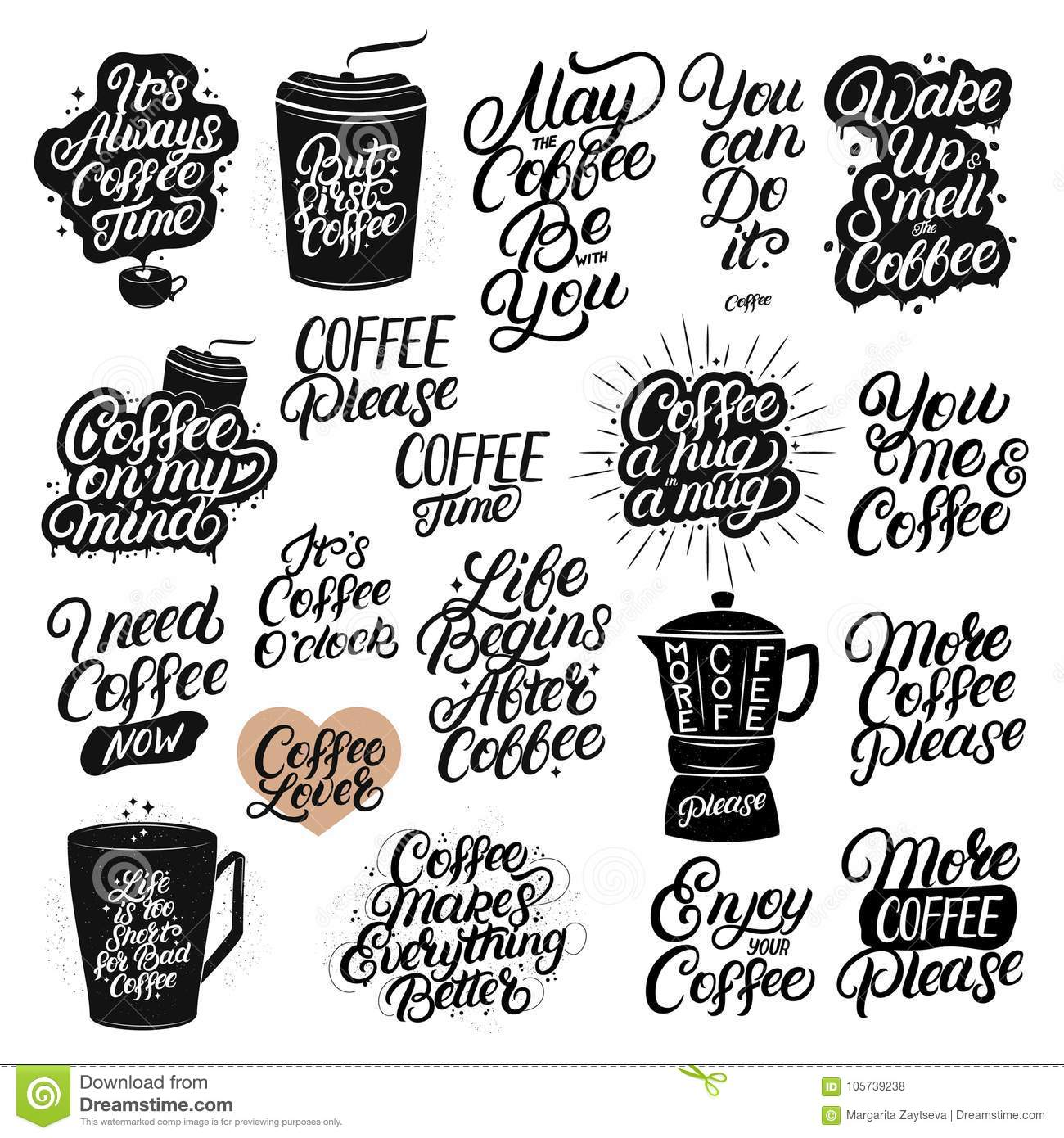 Set Of Hand Drawn Lettering Coffee Quotes Stock Vector Illustration Of Lettering Drink 105739238