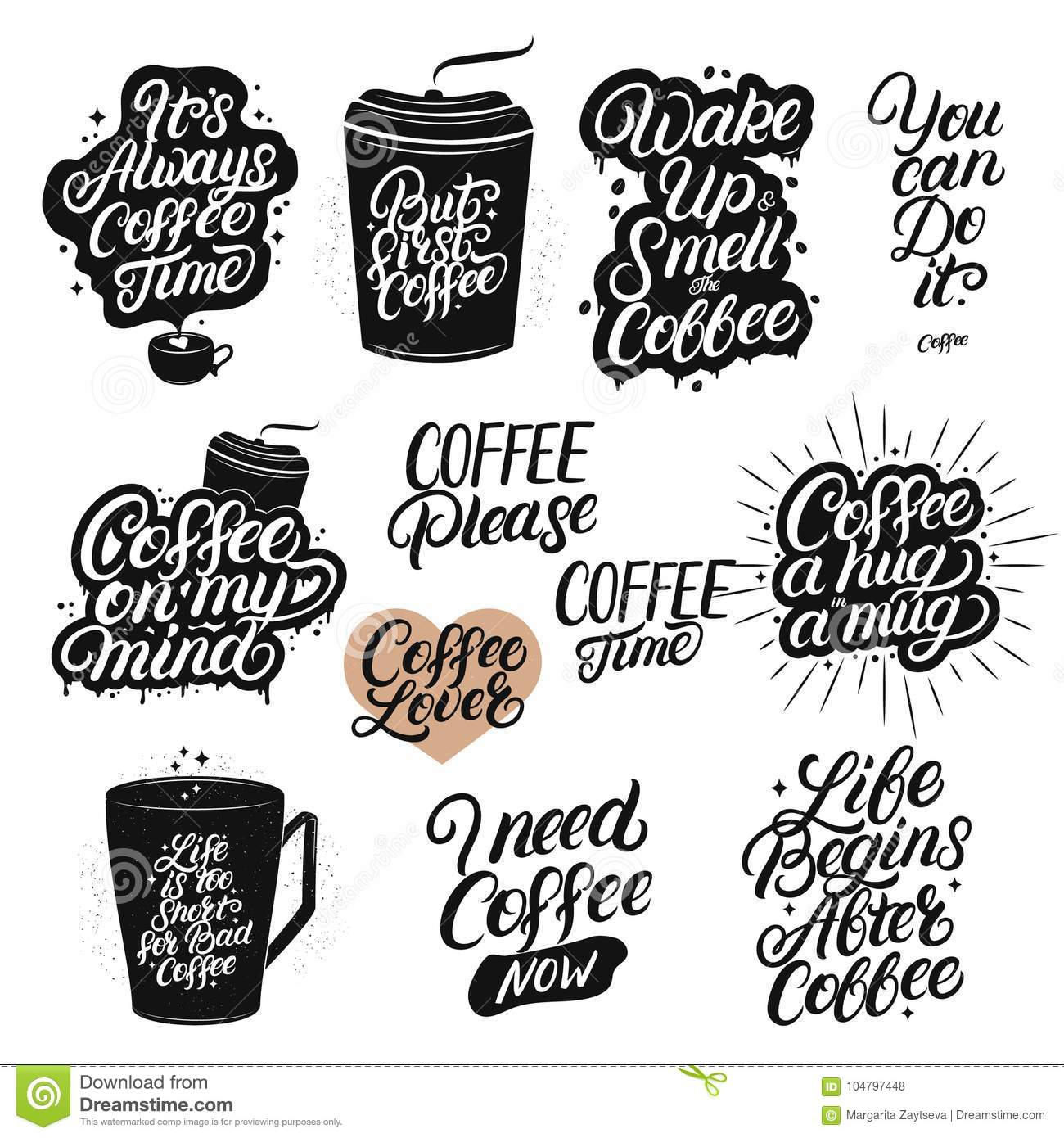Set Of Hand Drawn Lettering Coffee Quotes Stock Vector Illustration Of Decoration Phrase 104797448