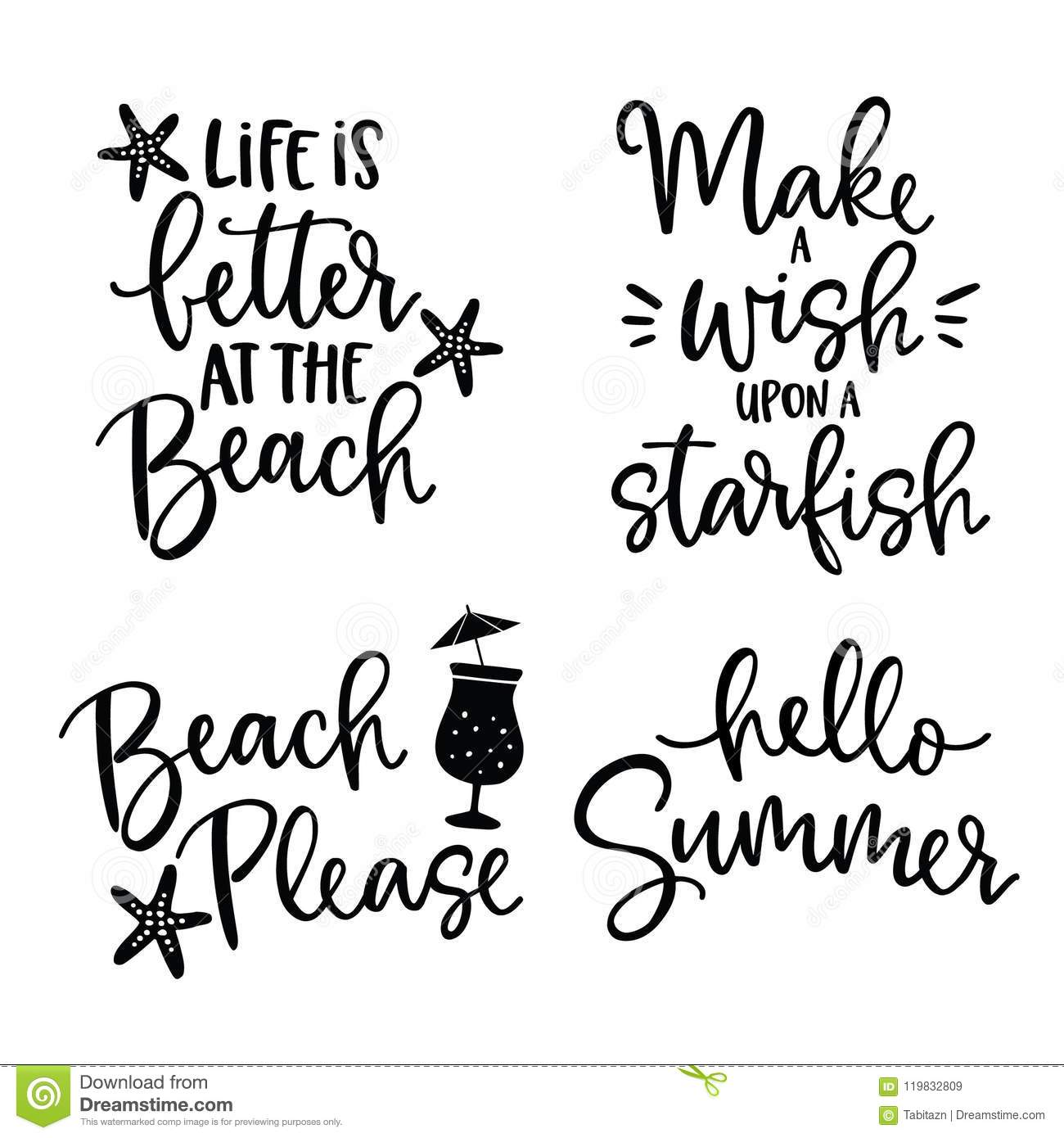 Set Of Hand Drawn Lettering Quotes Card .Vector Hand Drawn ...