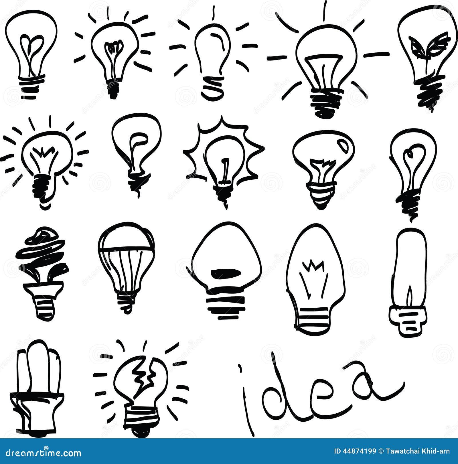 Set Of Hand-drawn Light Bulbs, Symbol Of Ideas Stock ...