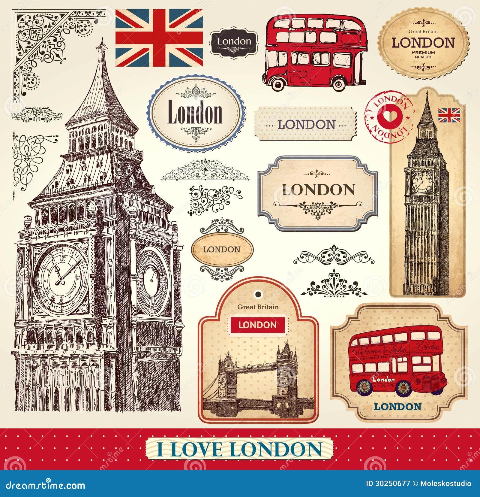 Set of london symbols royalty free stock photography - Relojes de pared retro ...